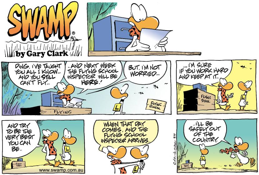 Swamp Cartoon - Flying School InspectorApril 14, 2002