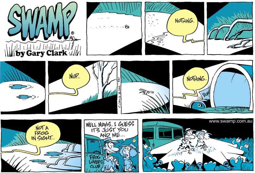 Swamp Cartoon - Swamp Frogs HidingMay 26, 2002