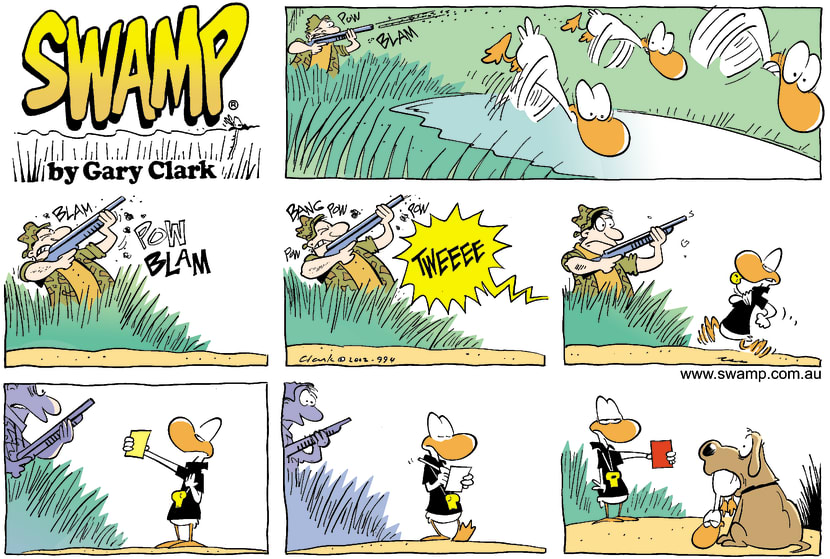 Swamp Cartoon - Duck Hunters Yellow CardedJuly 28, 2002