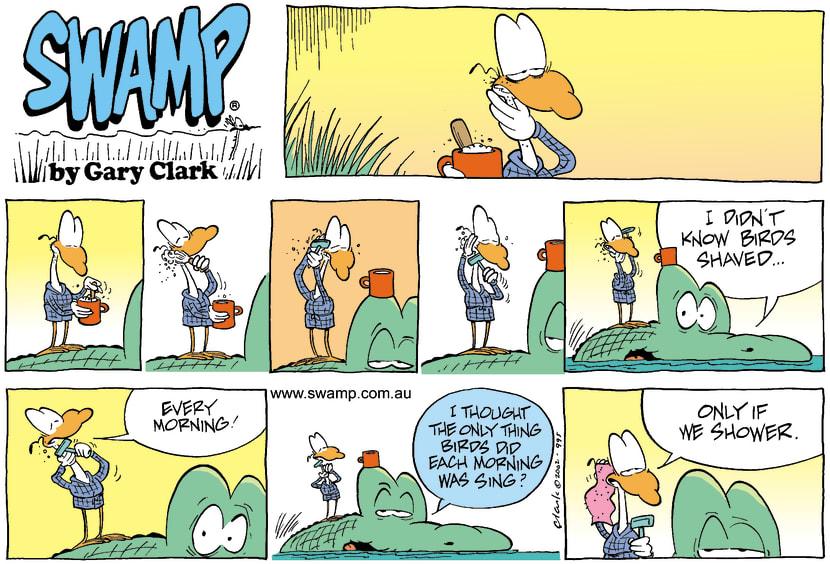 Swamp Cartoon - Morning DutiesAugust 4, 2002
