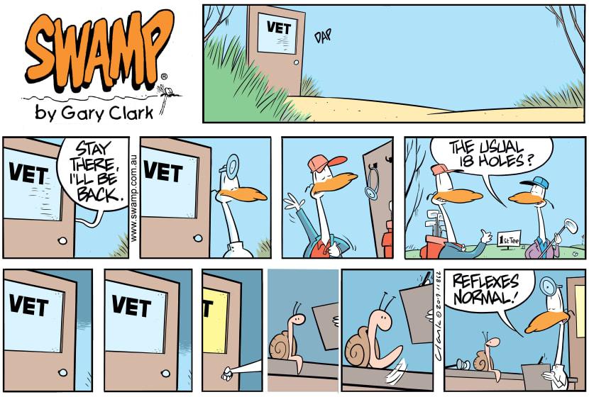 Swamp Cartoon - Swamp Vet Tests ReflexesSeptember 8, 2019