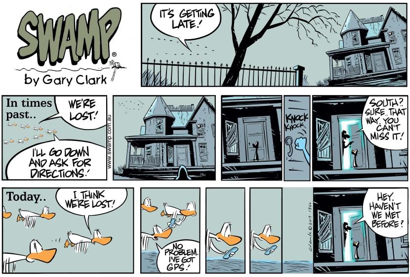 Swamp Cartoon - Aviator Duck Asks DirectionsSeptember 22, 2019