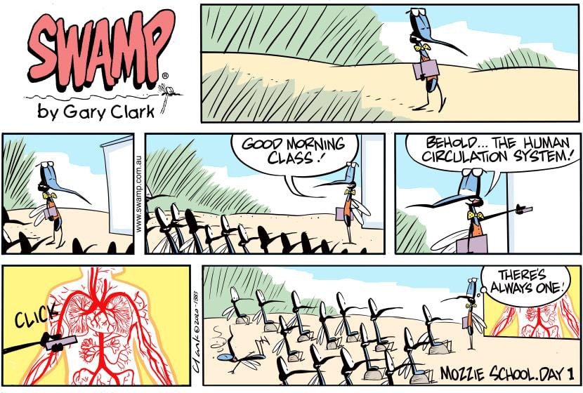 Swamp Cartoon - Mosquito School Day 1February 9, 2020