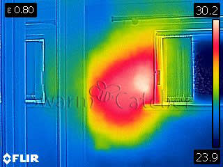 Bees in walls - Thermal image of a bee nest behind top flat wall