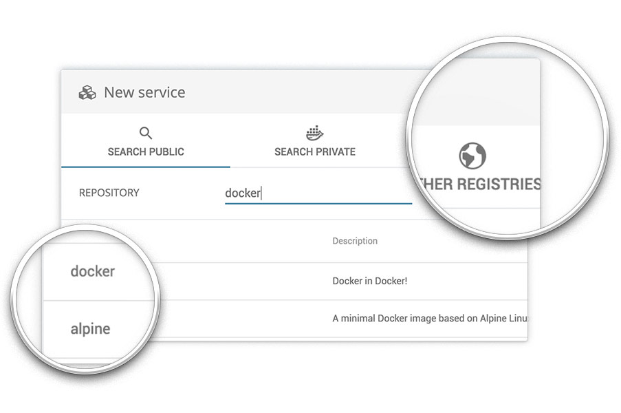 screenshot: Private registry