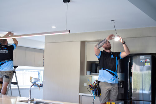 HQ Technicians Installing LED Downlights in Kitchen