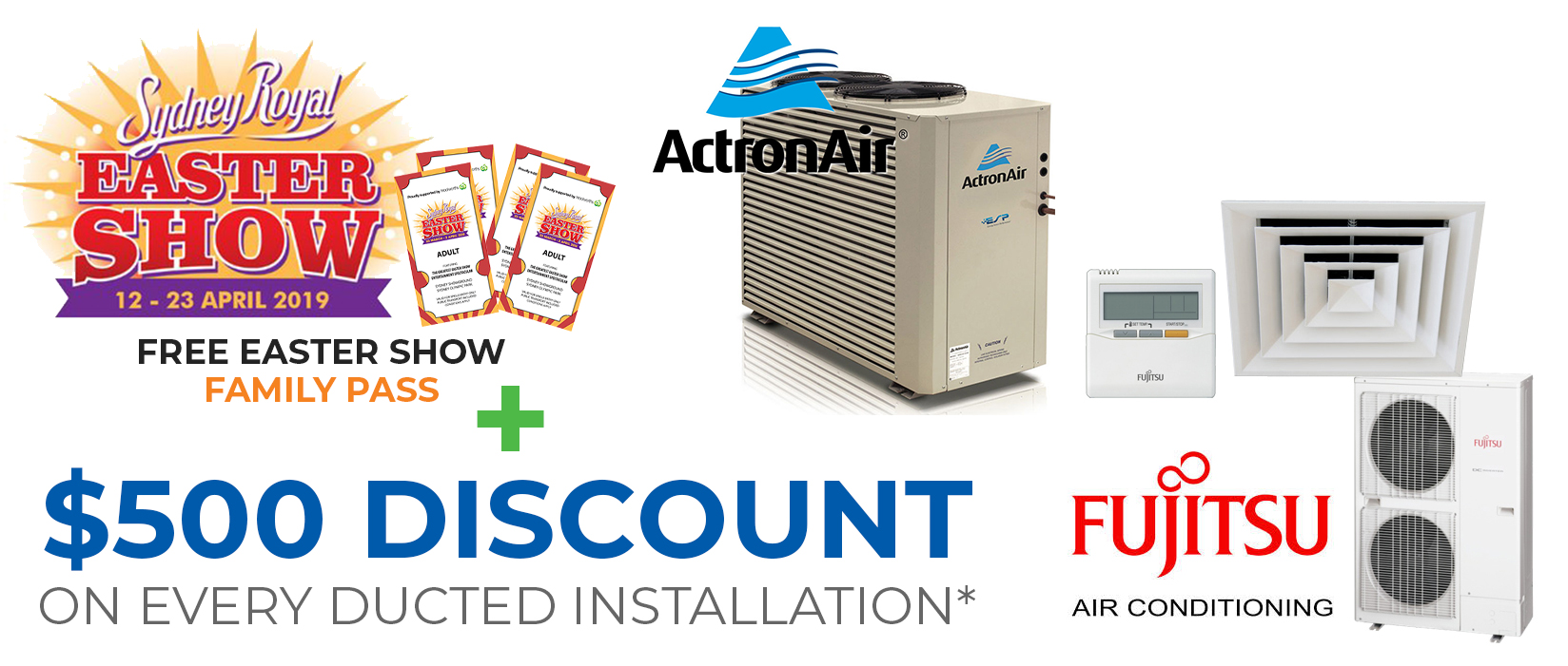 Ducted Air Conditioning Discount with Easter Show Tickets
