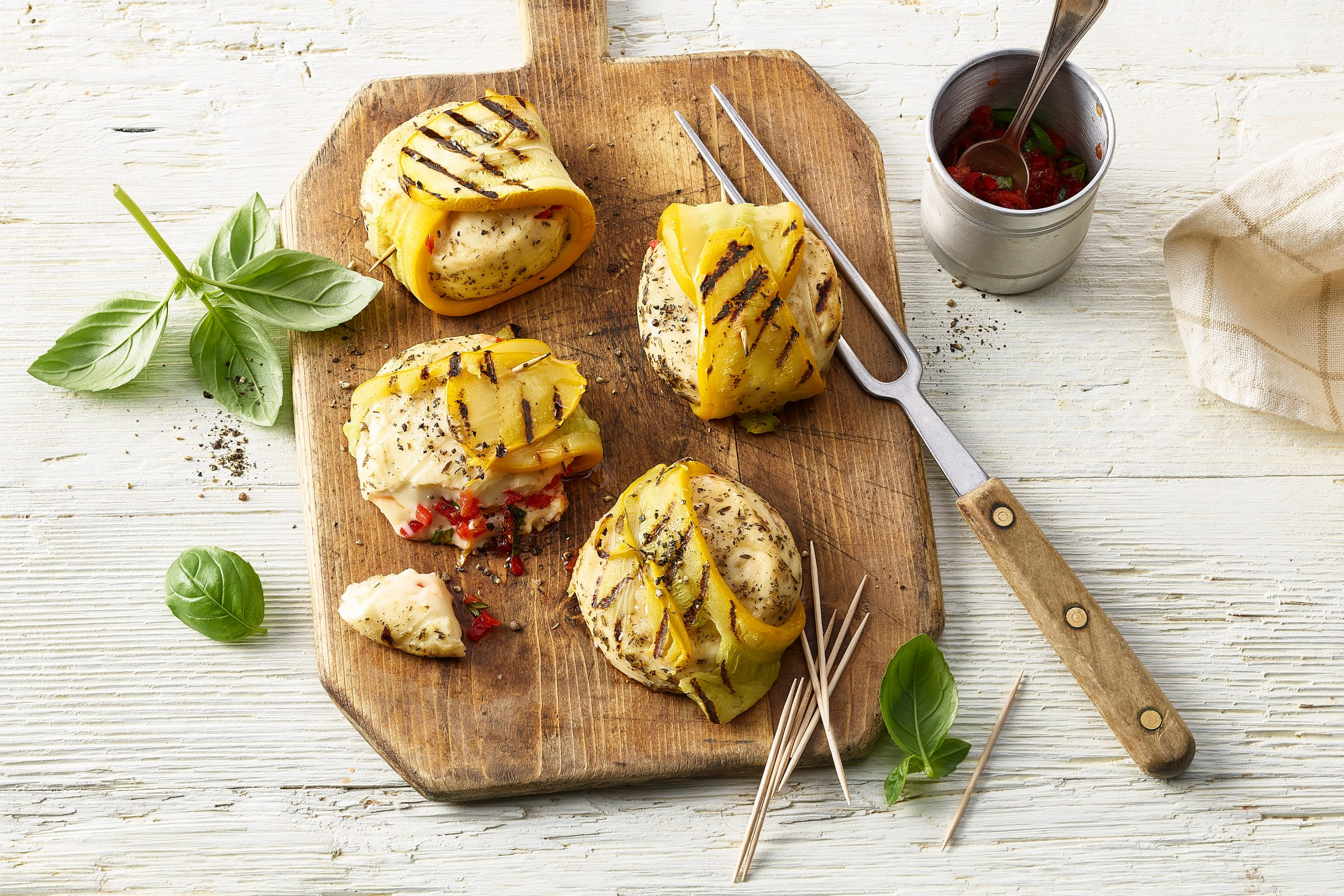 Baluchons de courgette au fromage grillé au barbecue