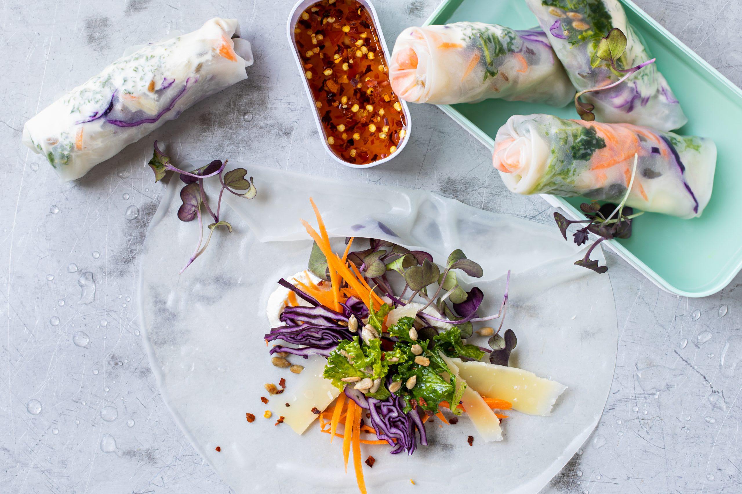 Rouleaux de printemps au chou kale et aux micropousses (low carb)