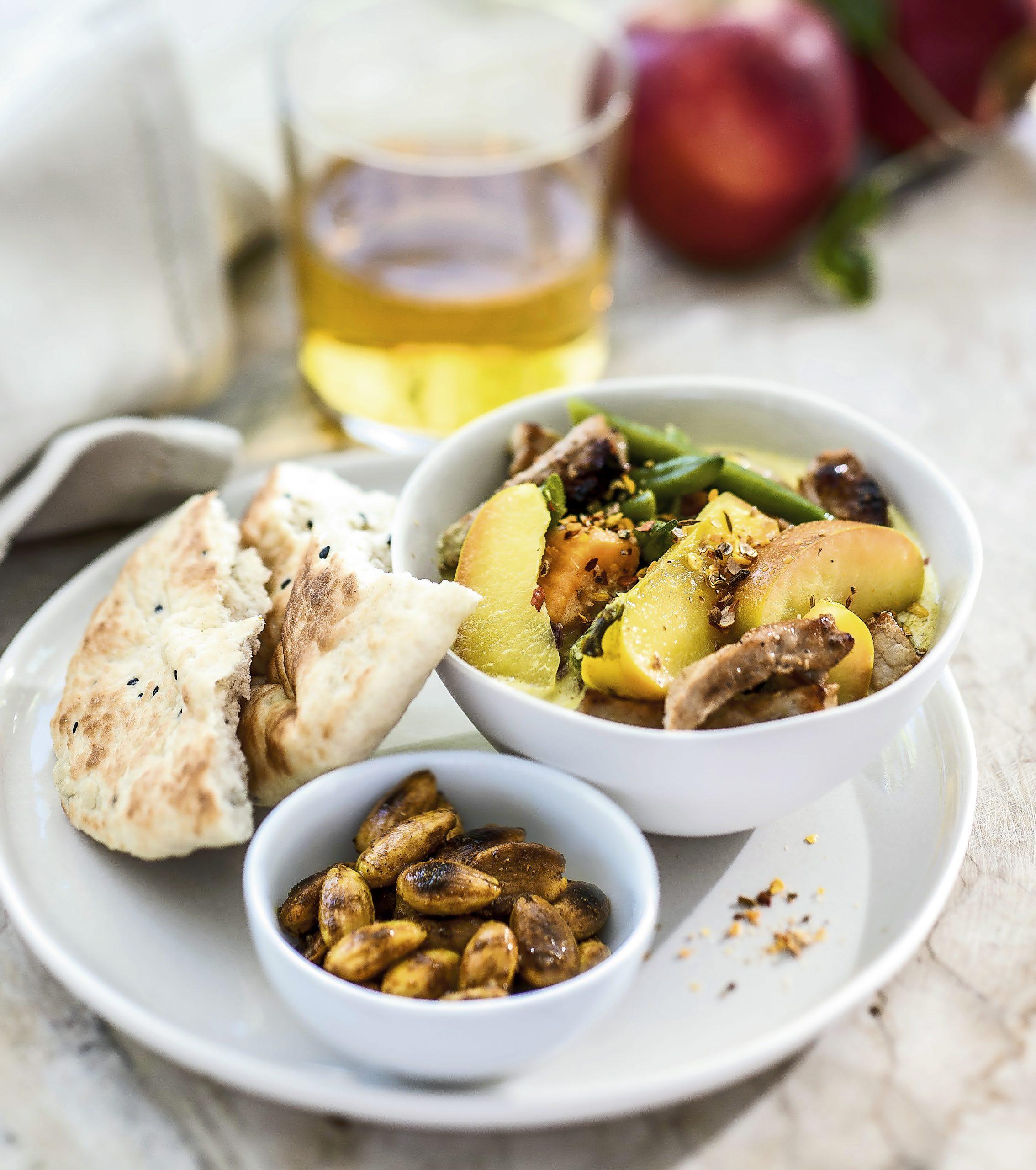 Curry de pommes et viande de porc