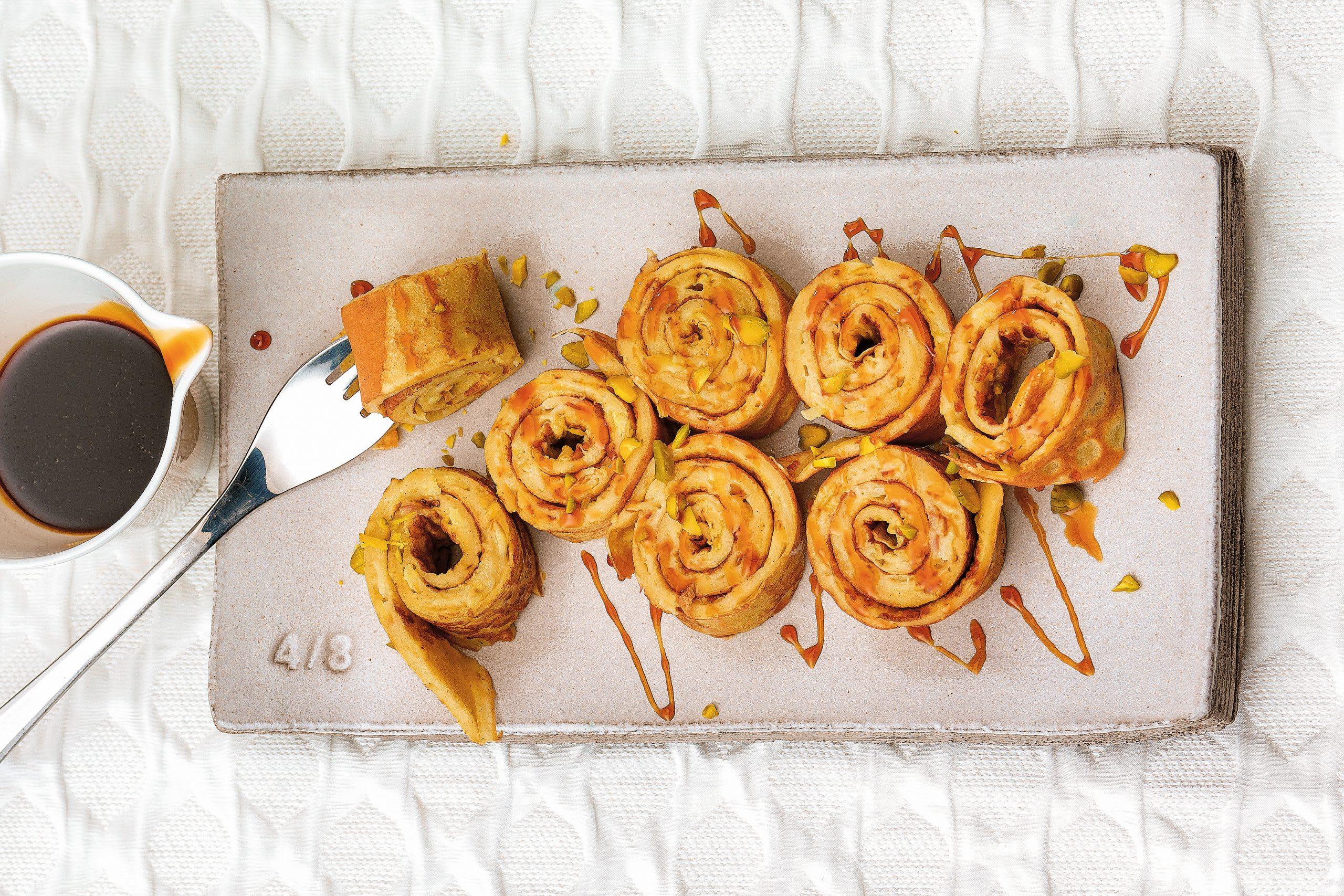 Crêpes aux pommes en escargot