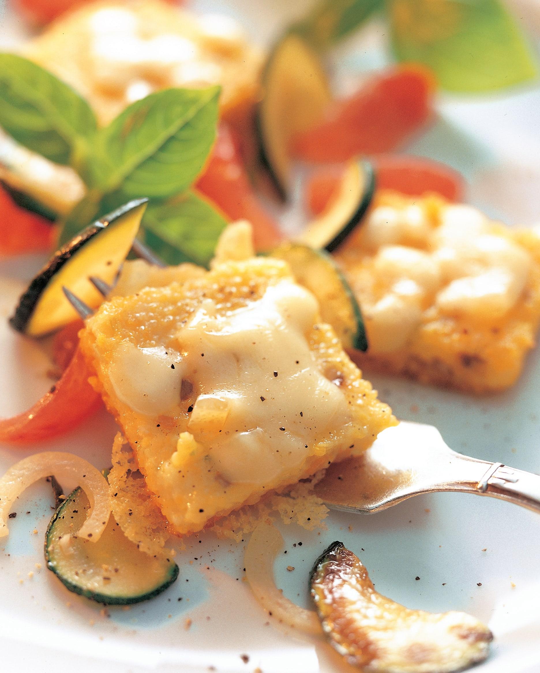 Appenzeller-Quadrate auf Tomaten und Zucchini