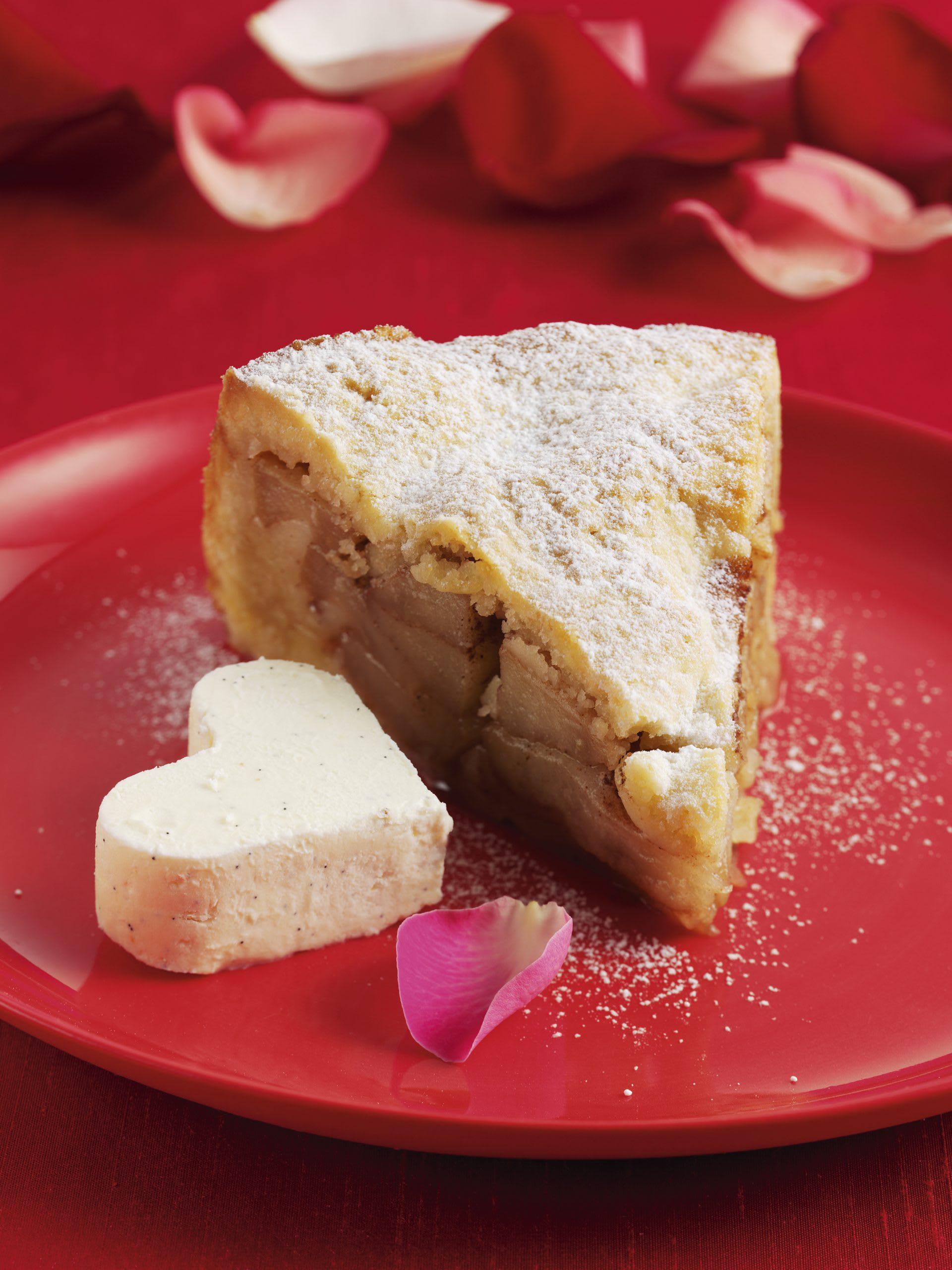 Tourte aux pommes et coeurs glacés à la vanille