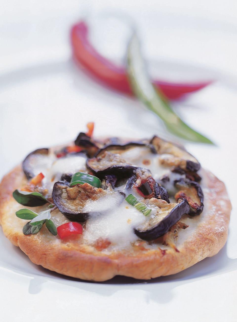 Auberginen-Mozzarella-Pizzette