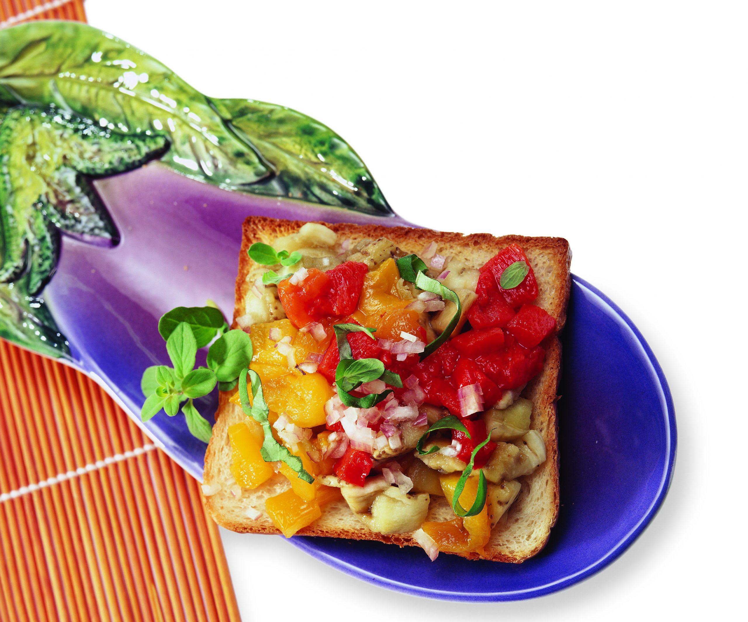 Auberginen-Peperoni-Toast