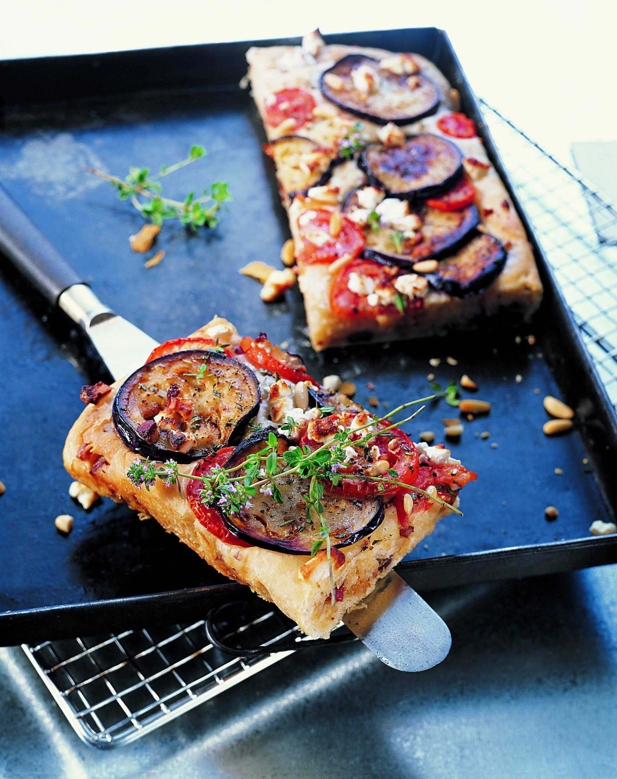 Auberginenpizza mit Frischkäse