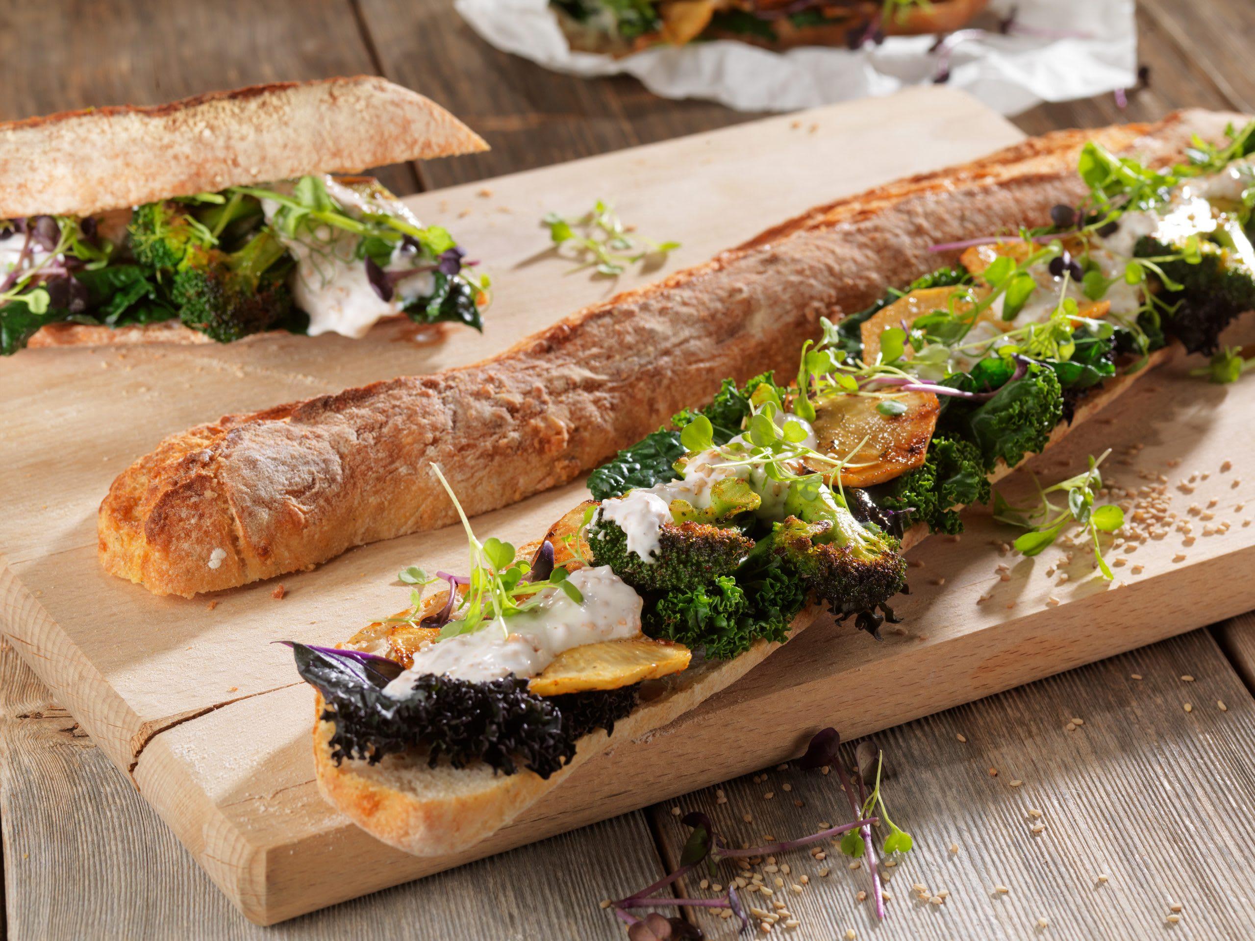 Baguette aux légumes grillés