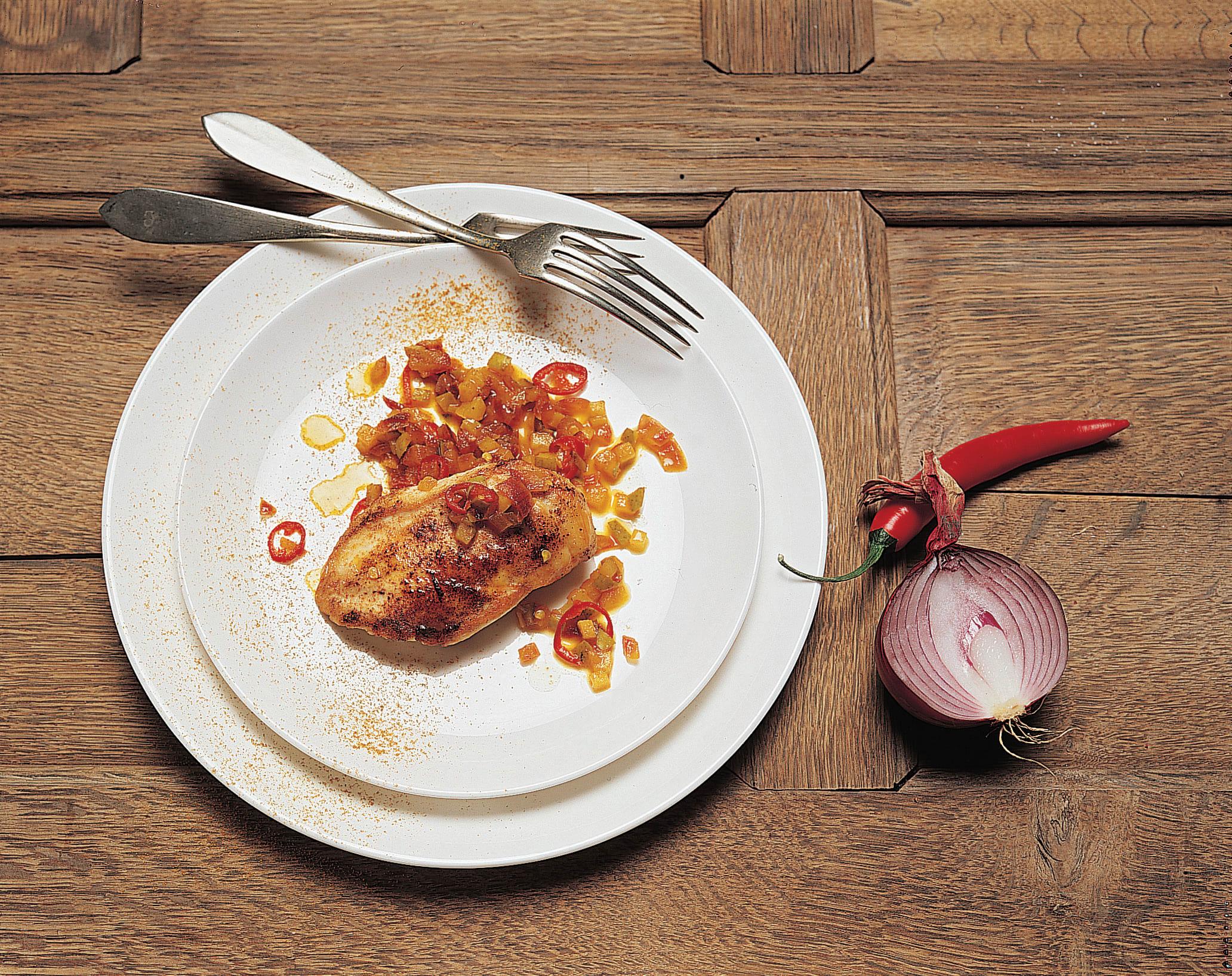 Curry aux poires et blancs de poulet