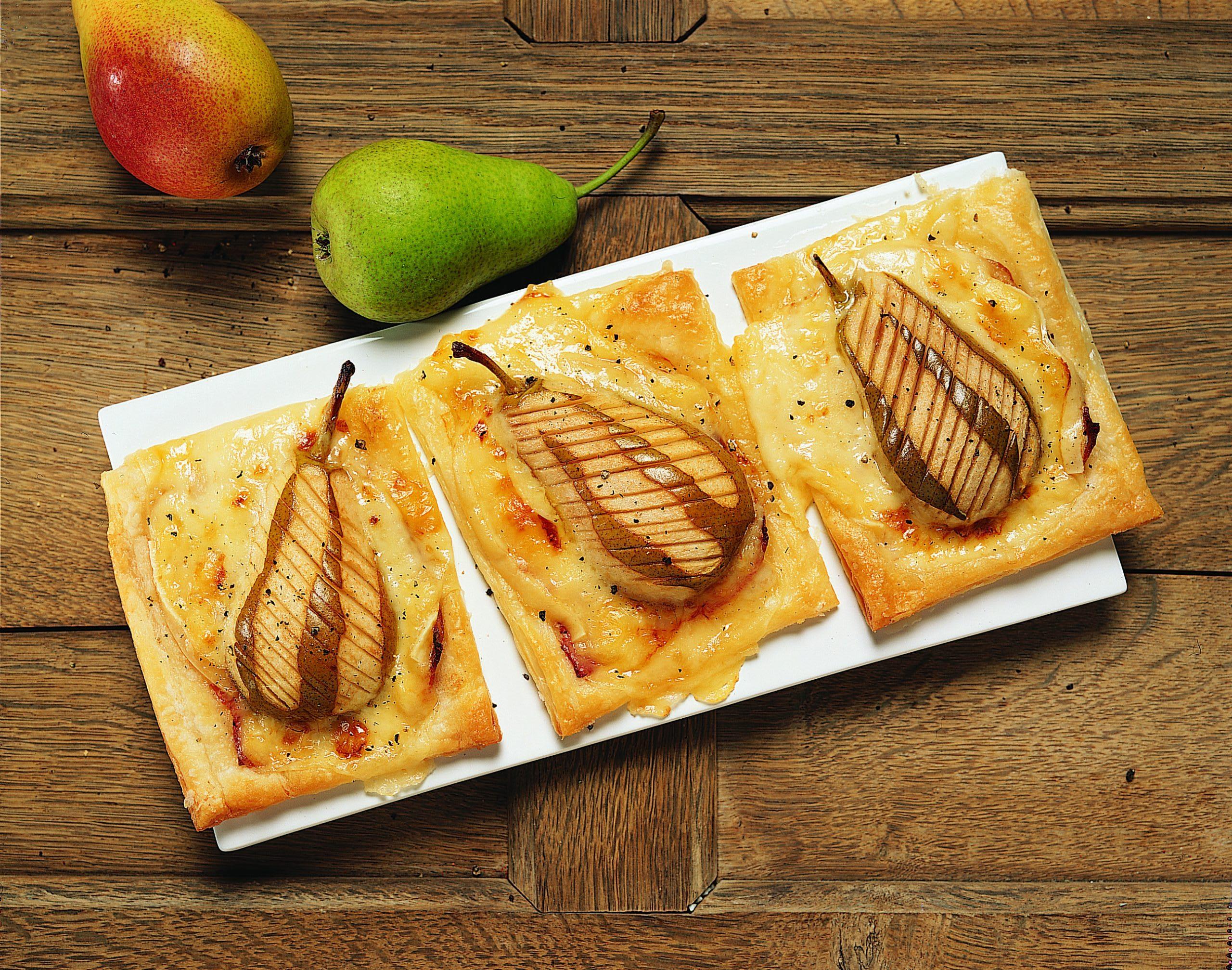 Birnen-Jalousien mit Schinken und Raclettekäse