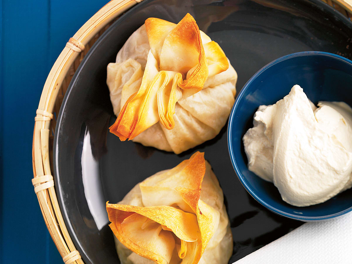Aumônières aux poires et crème au moka