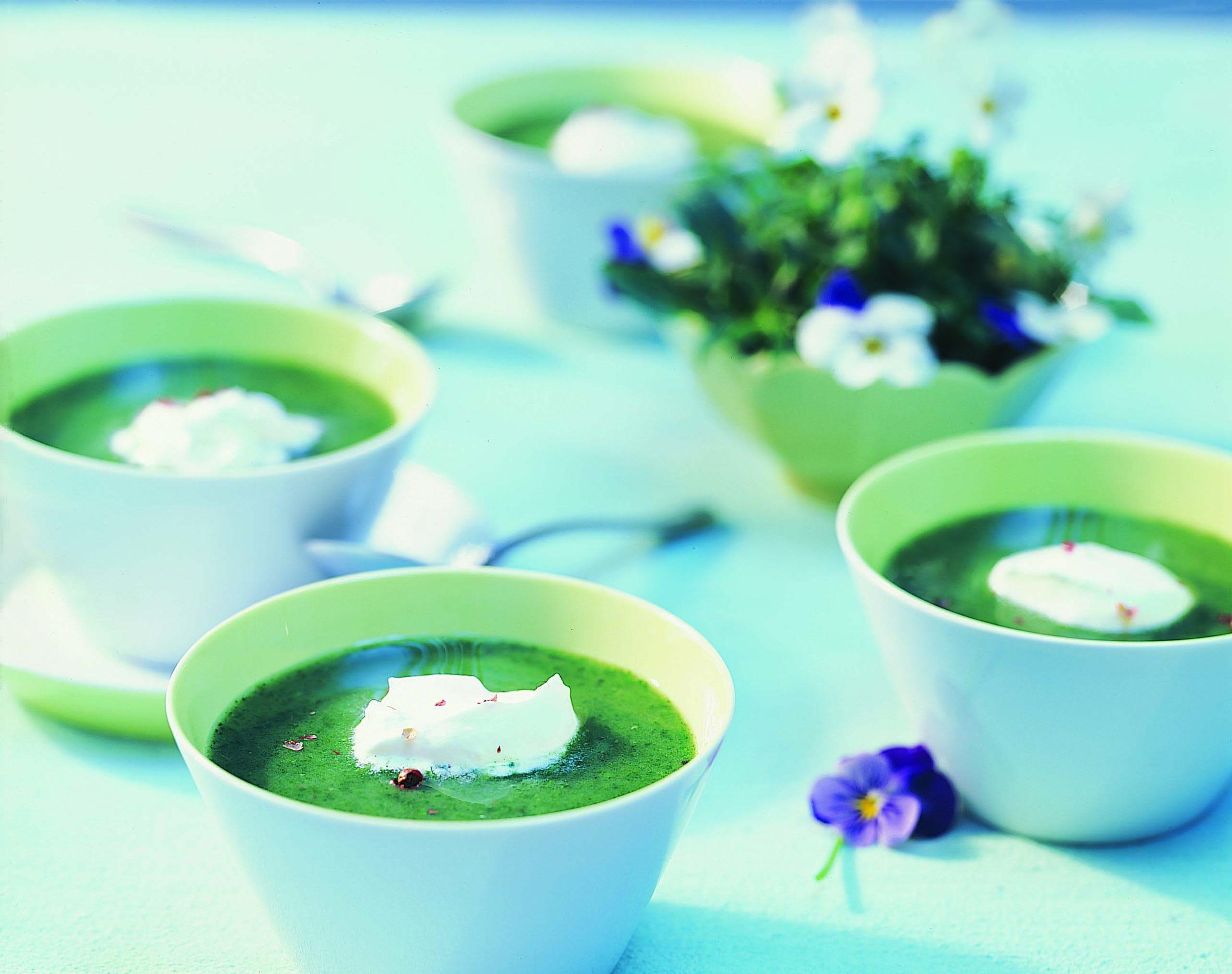 Brunnenkresse-Suppe mit Pfeffer-Rahmhaube