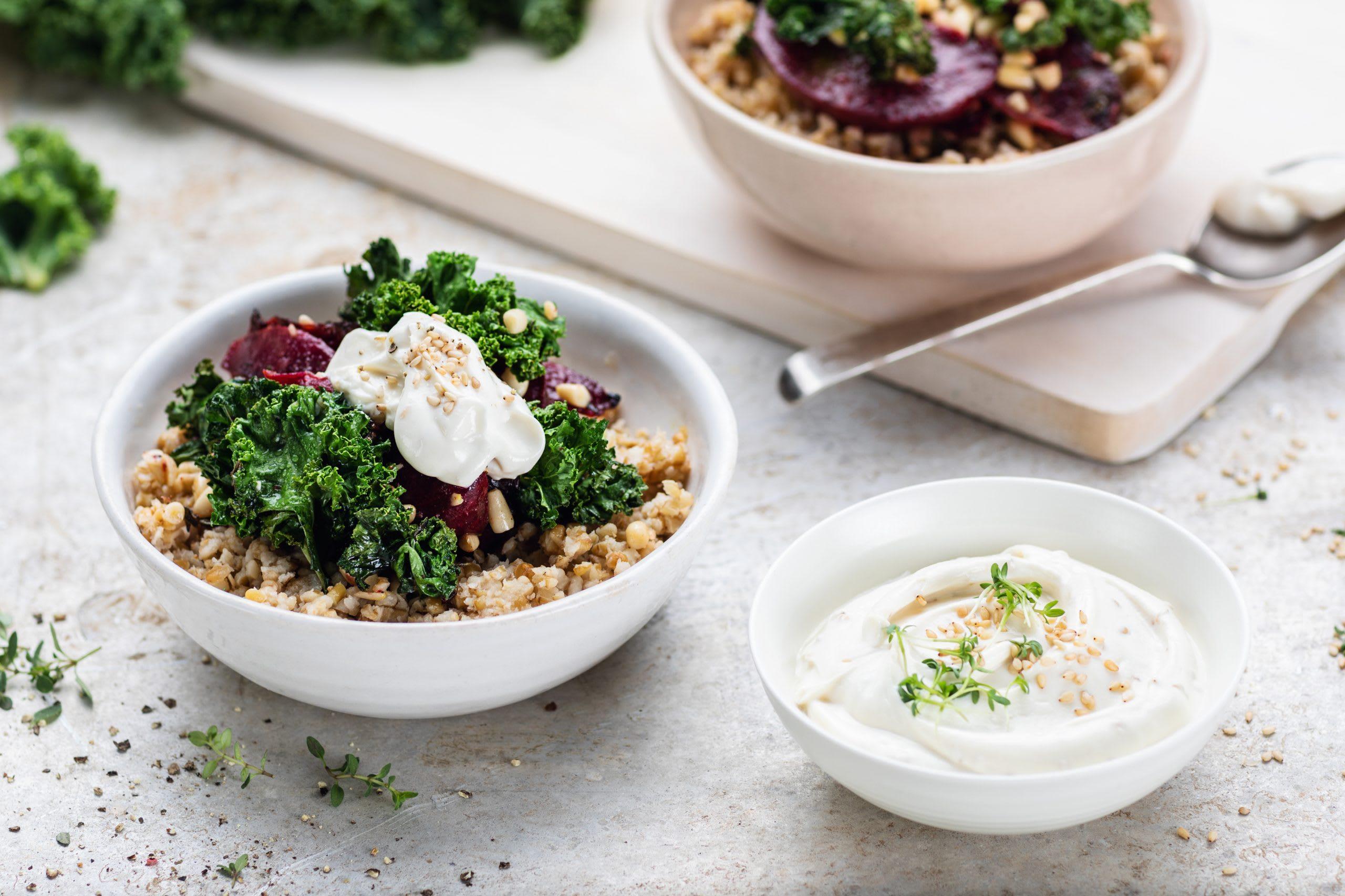 Salade de boulgour à la betterave et au chou kale