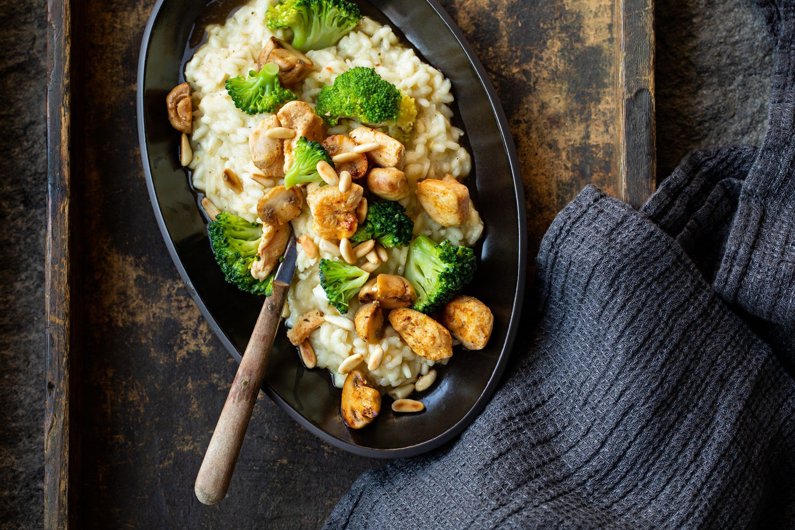 Risotto au babeurre, poulet, brocoli et champignons