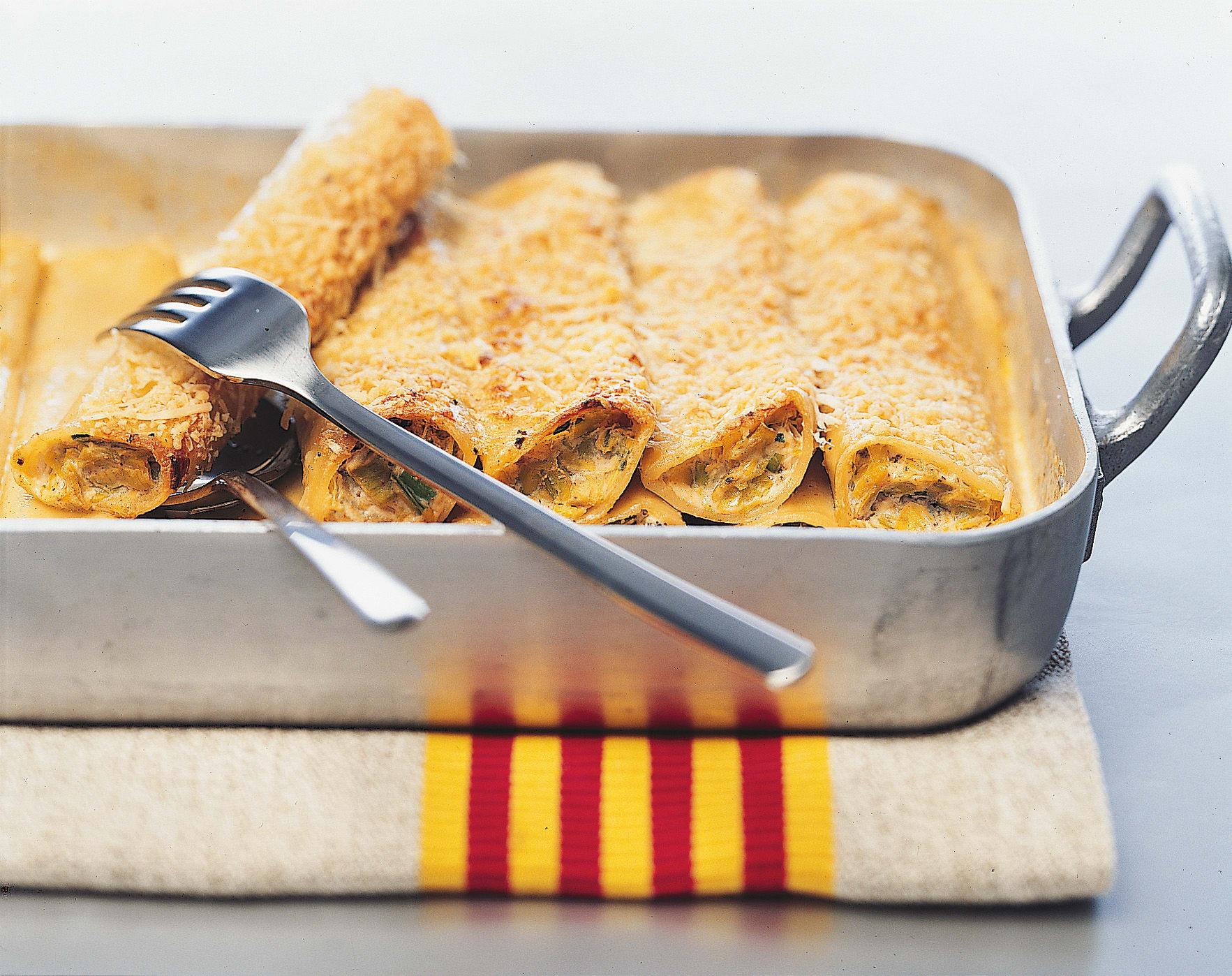 Cannelloni farcis aux poireaux et aux morilles