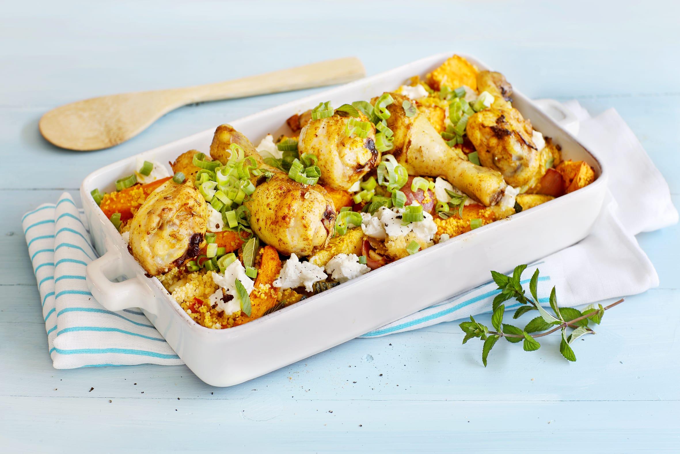 Couscous-Auflauf mit Gemüse und Poulet