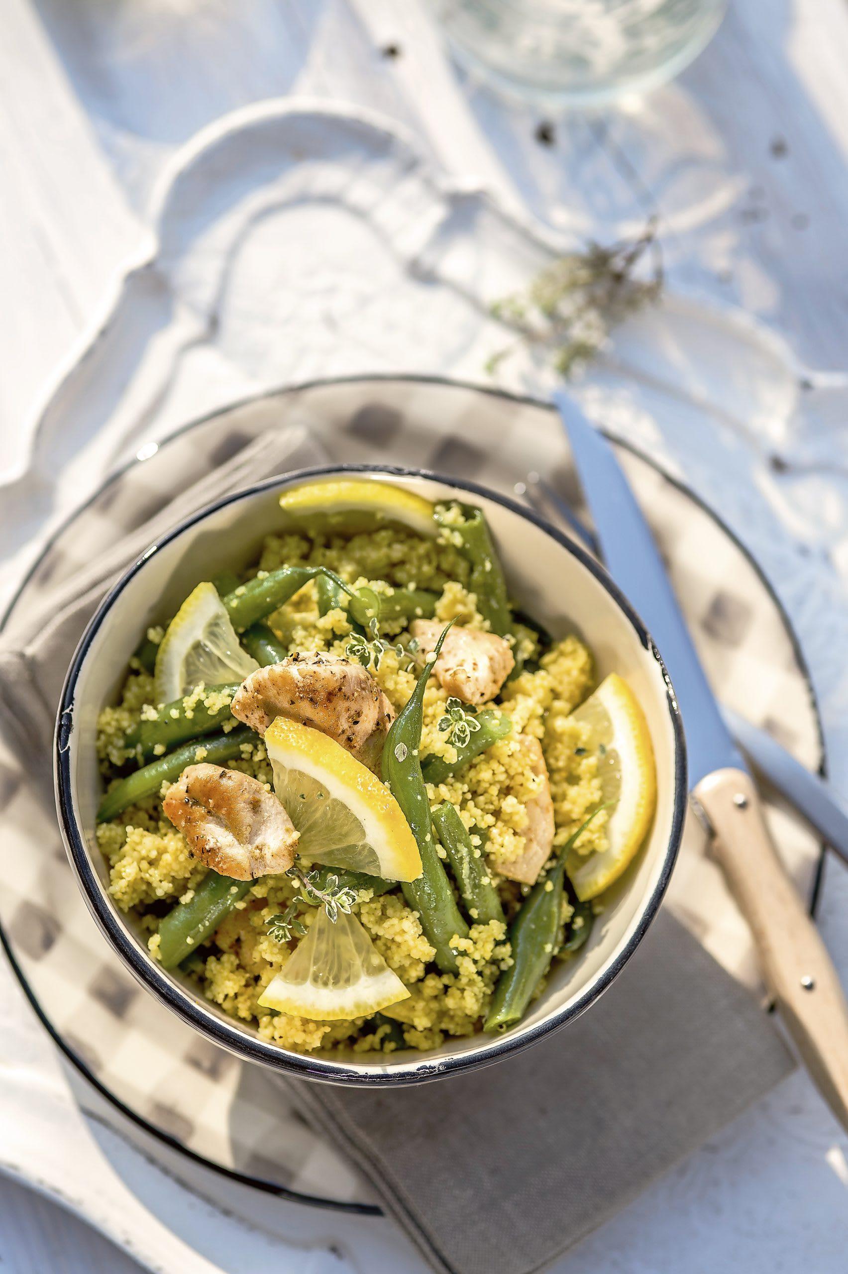 Couscous-Bohnen-Salat mit Zitronenpoulet