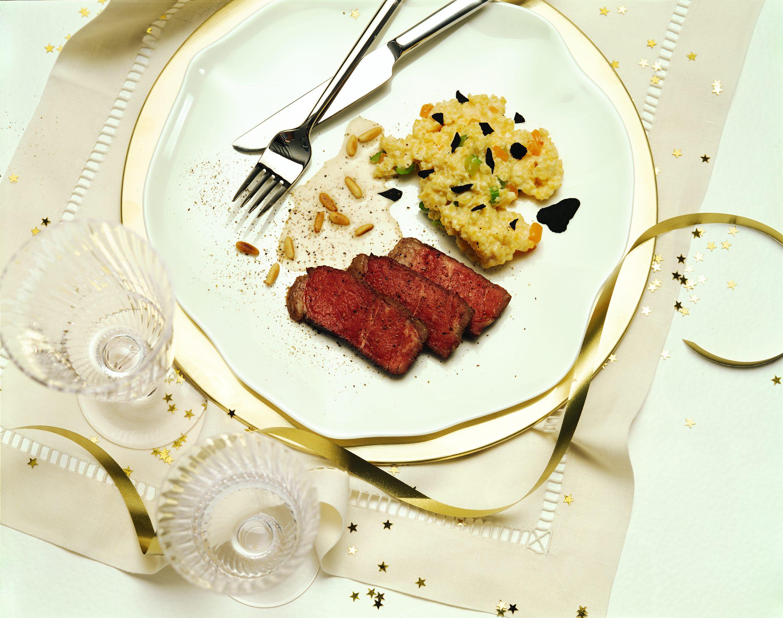 Entrecôte double mit Trüffel-Pinien-Sauce