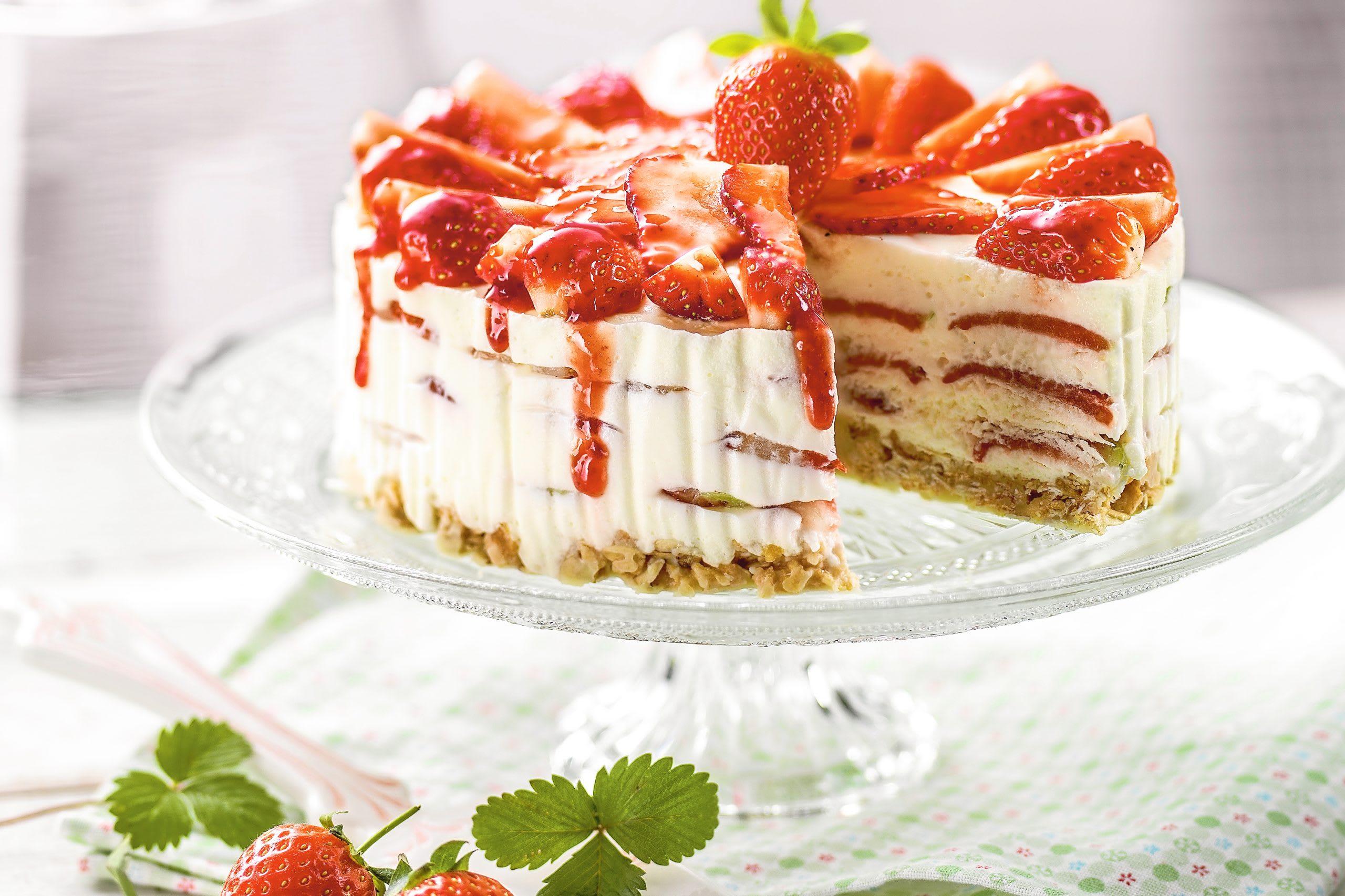 Tourte cheesecake aux fraises