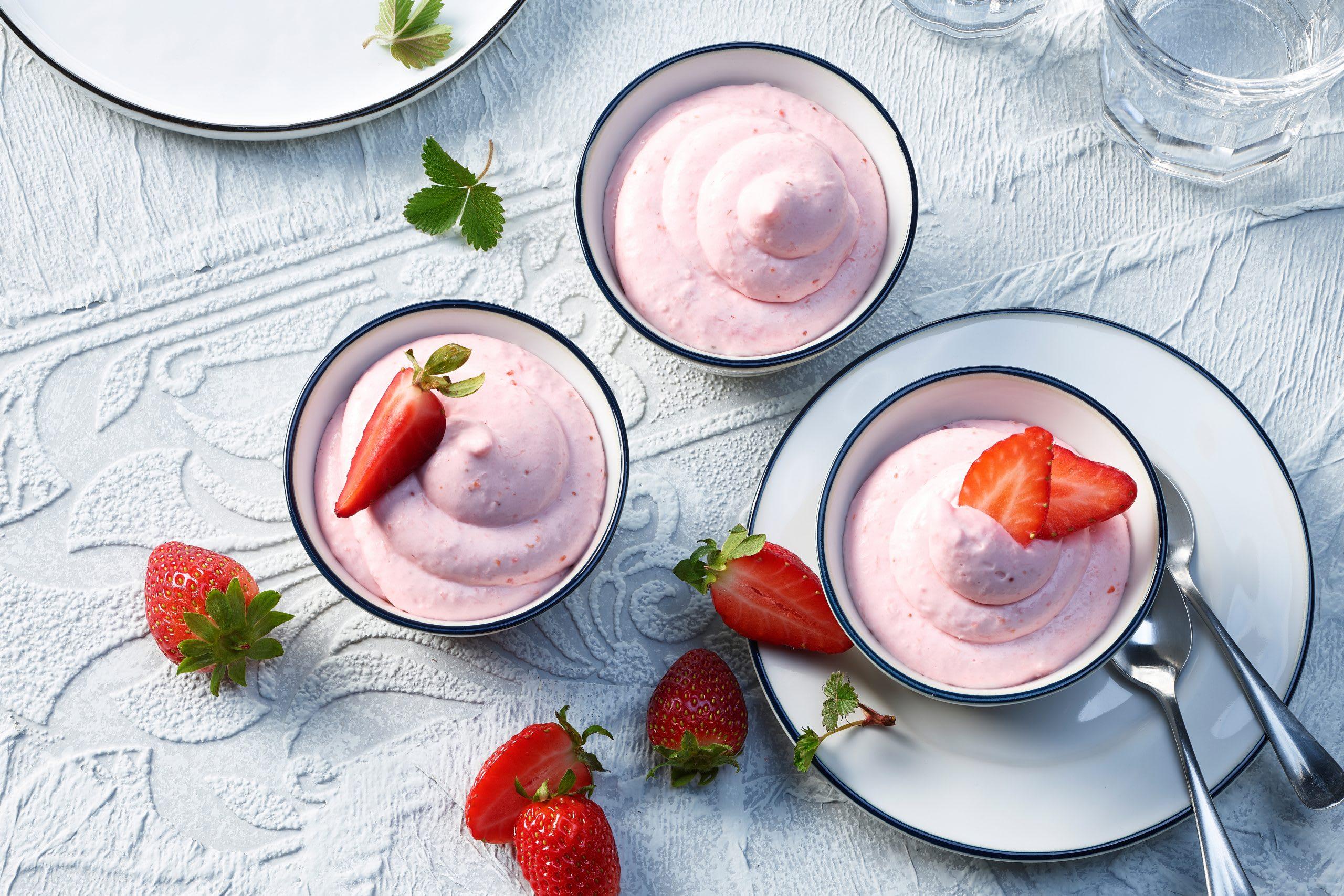 Erdbeermousse mit Quark