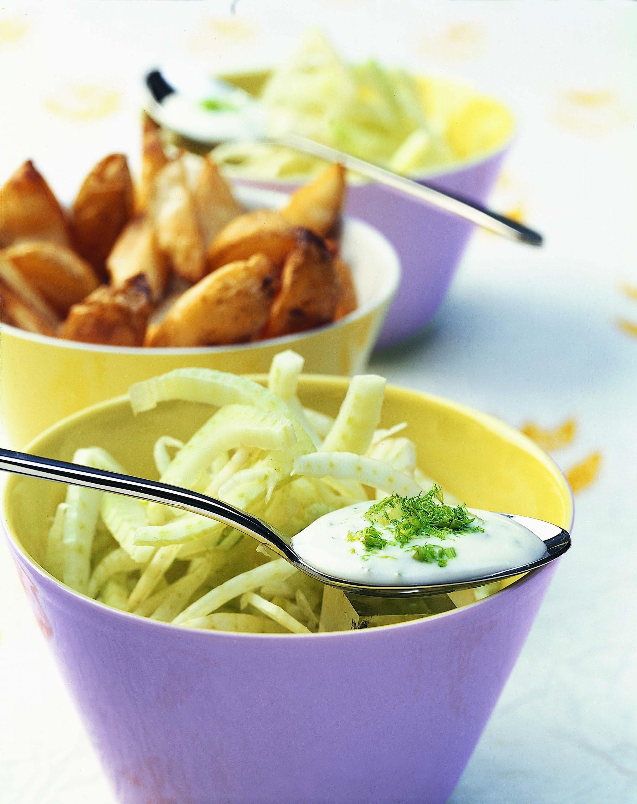 Salade de fenouil, potatoes et dip au séré