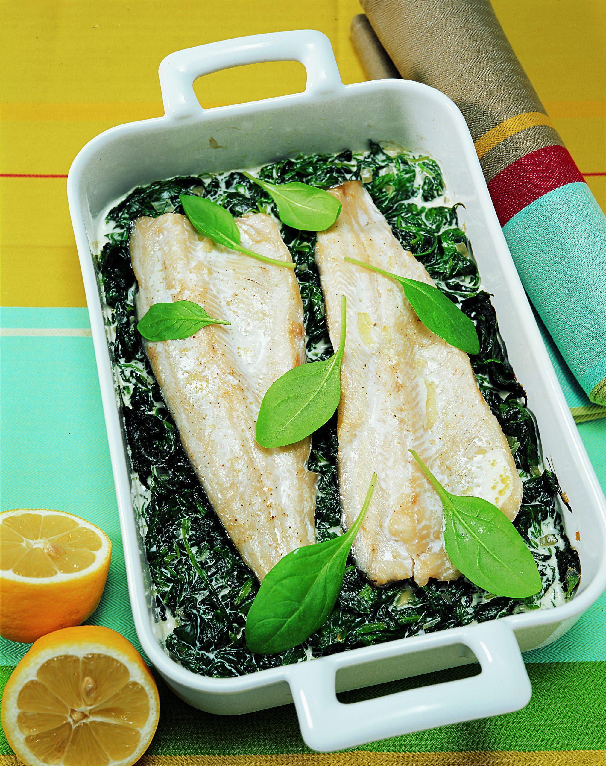Fisch auf Spinat