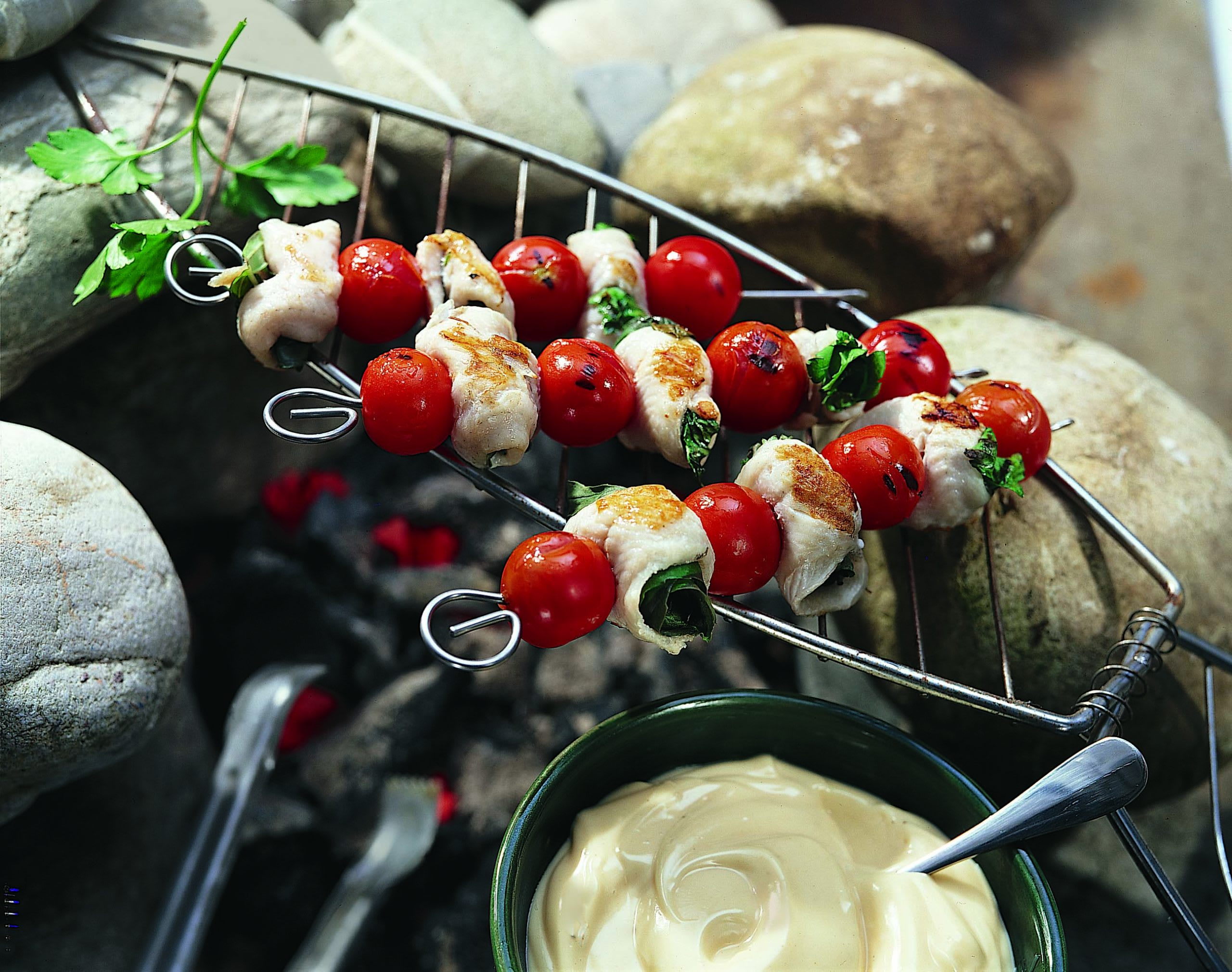 Brochettes de poisson aux herbes au barbecue