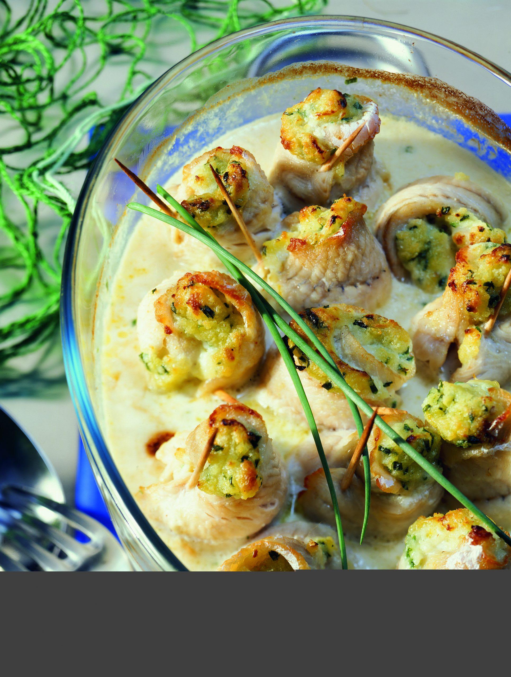 Paupiettes de poisson gratinées