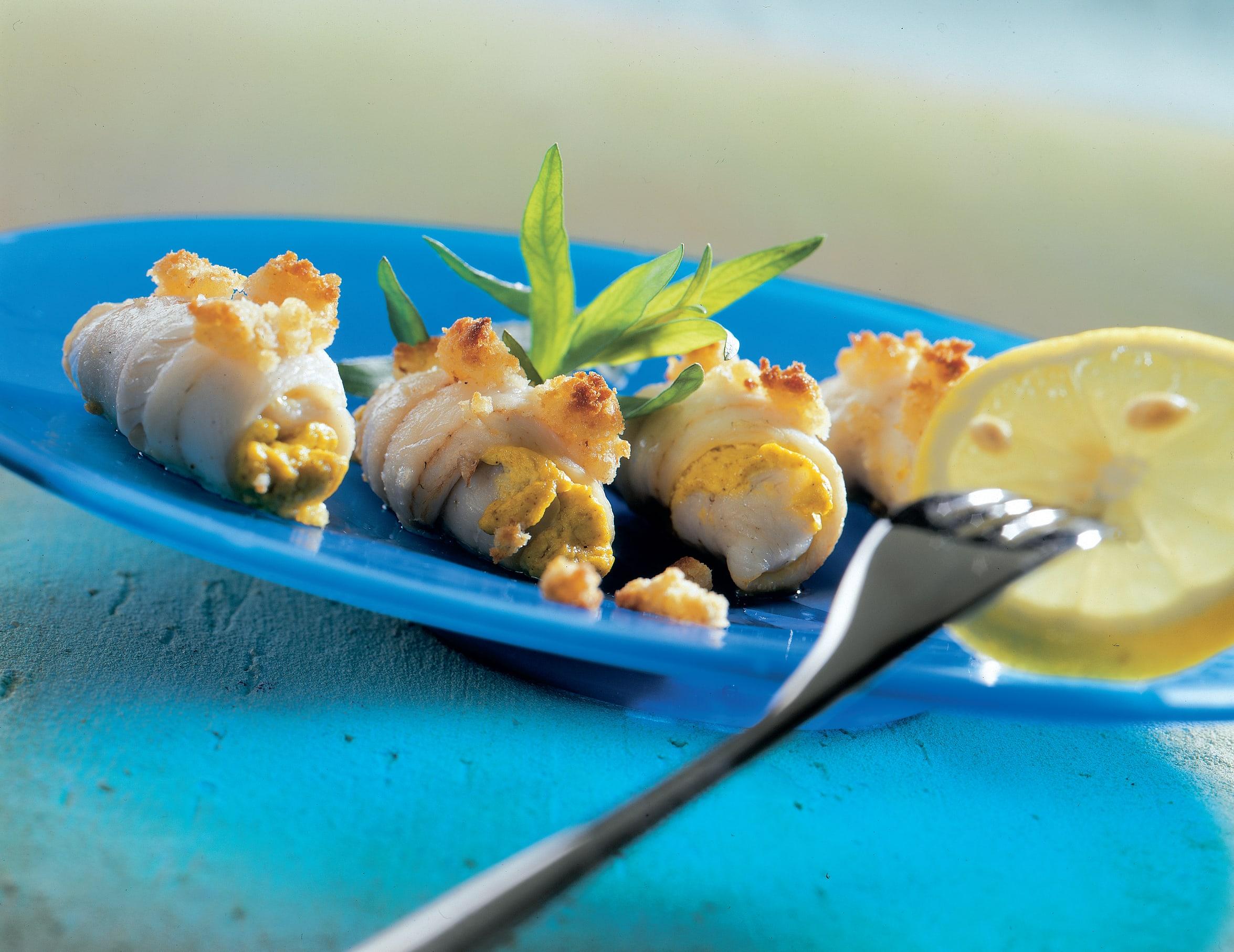 Fischröllchen mit Ingwerkruste