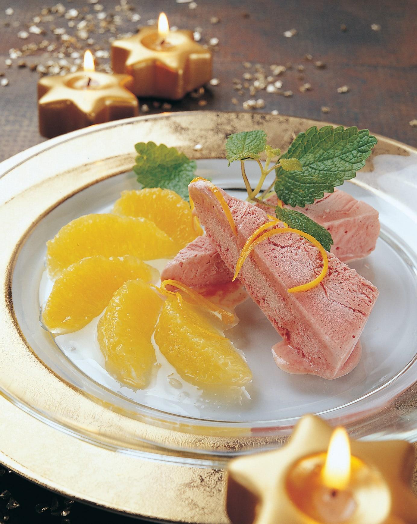 Oranges flambées et glace au vin chaud