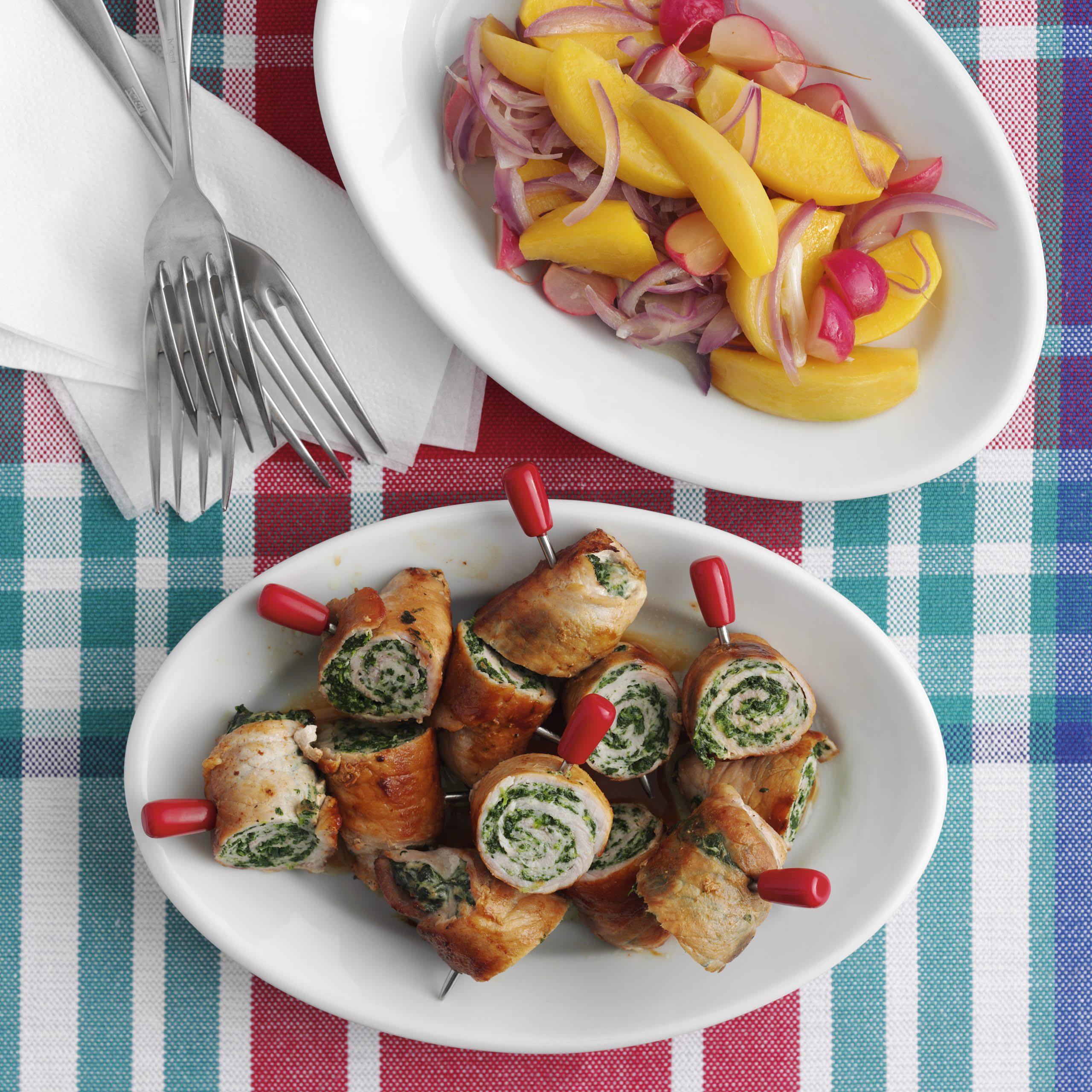 Fleisch-Spinat-Spiessli mit Bodenkohlrabi