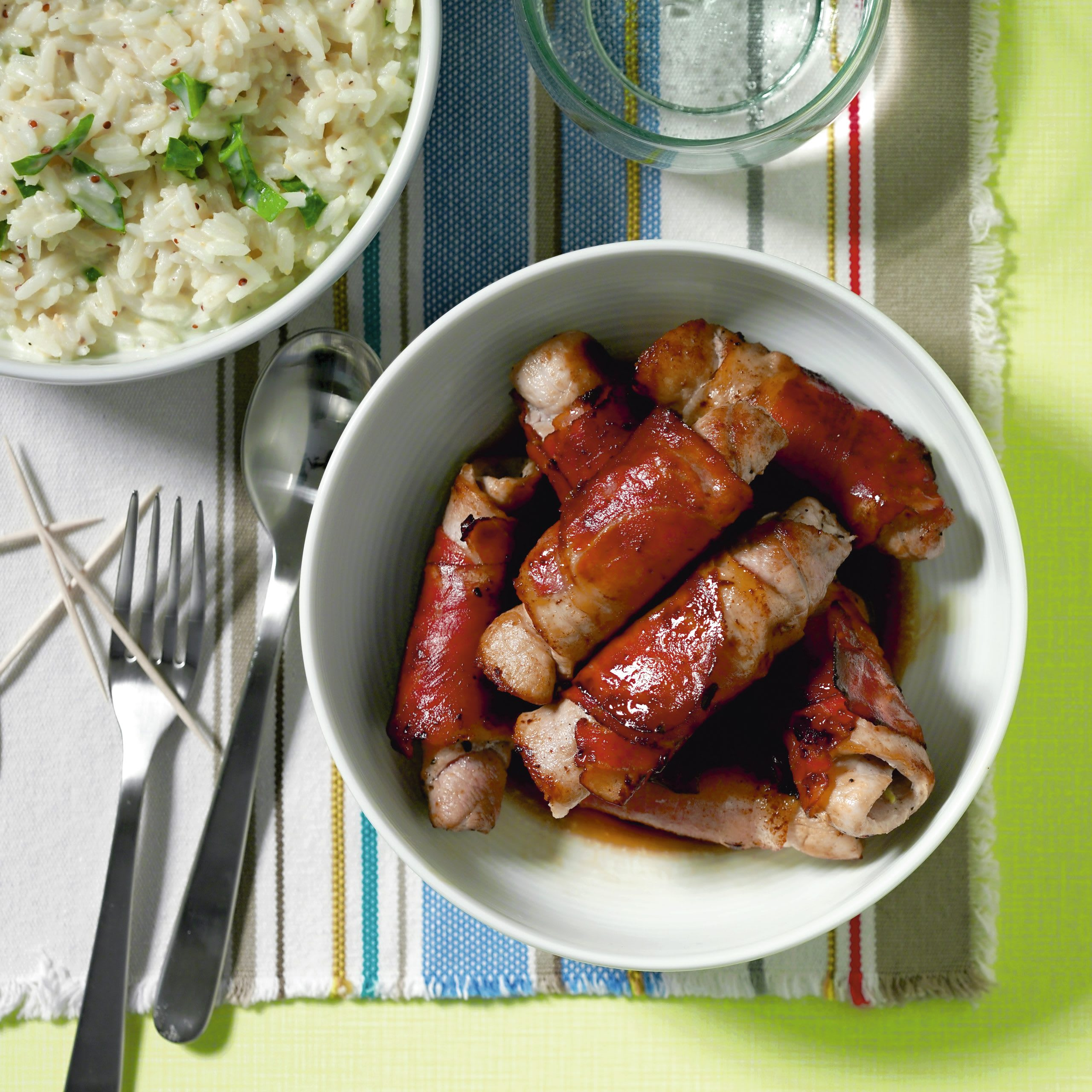 Fleischröllchen mit Senf-Reis