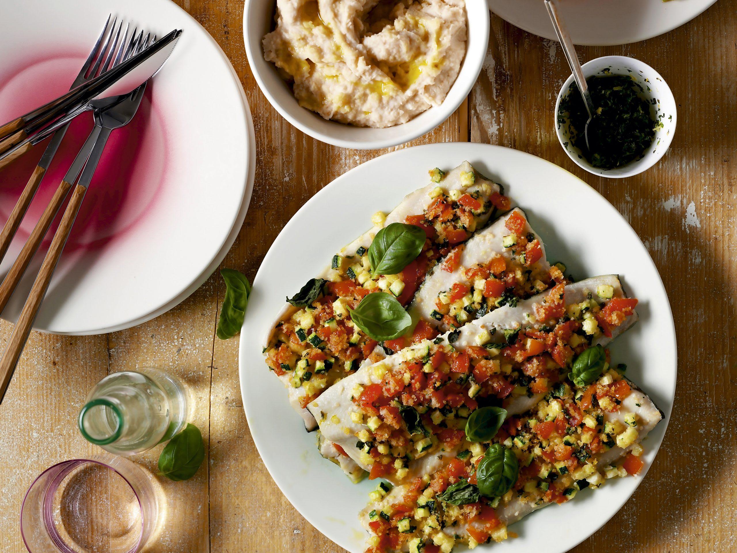 Filets de truite aux légumes croustillants