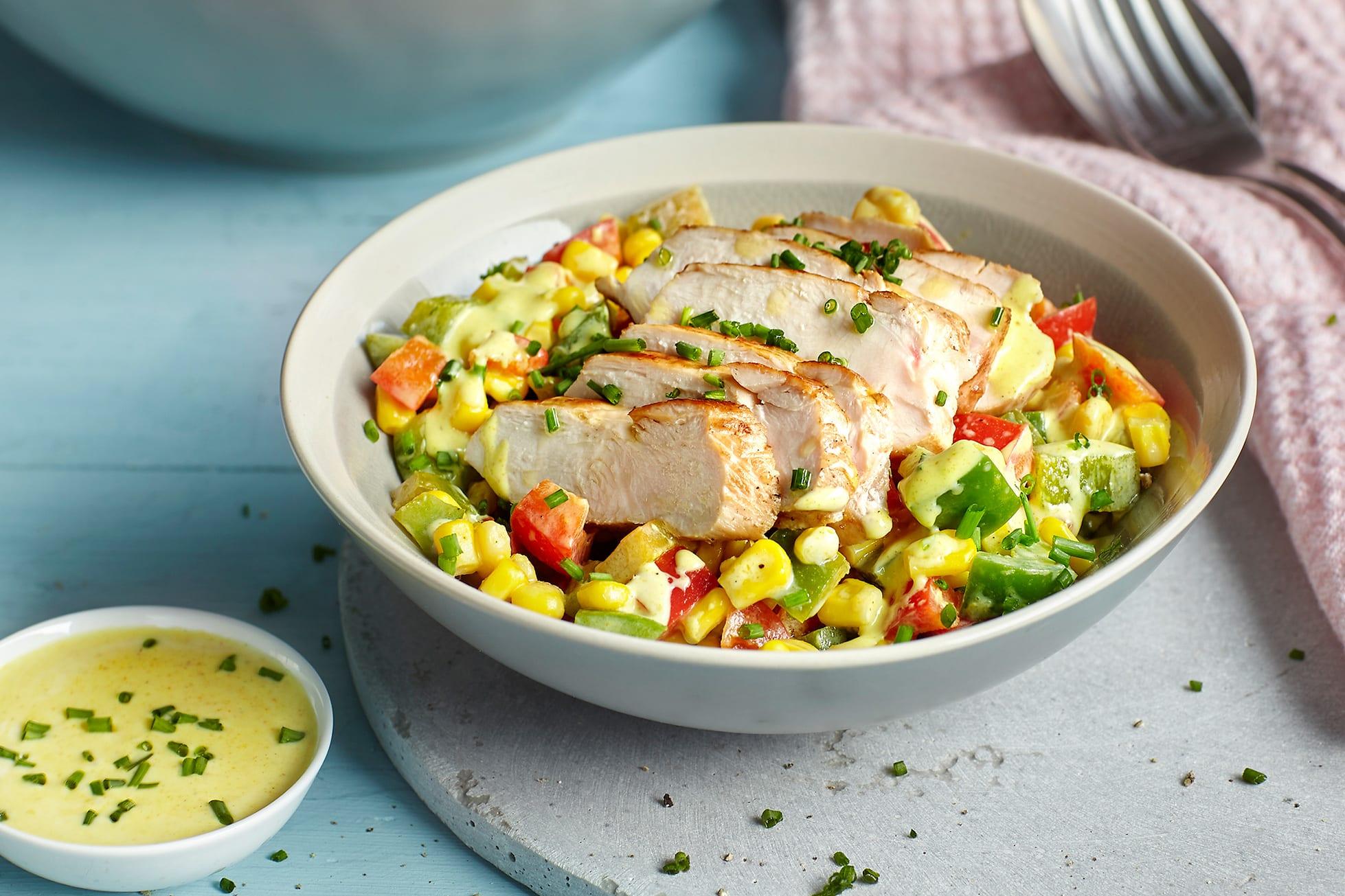 Salade fraîche de maïs au poulet