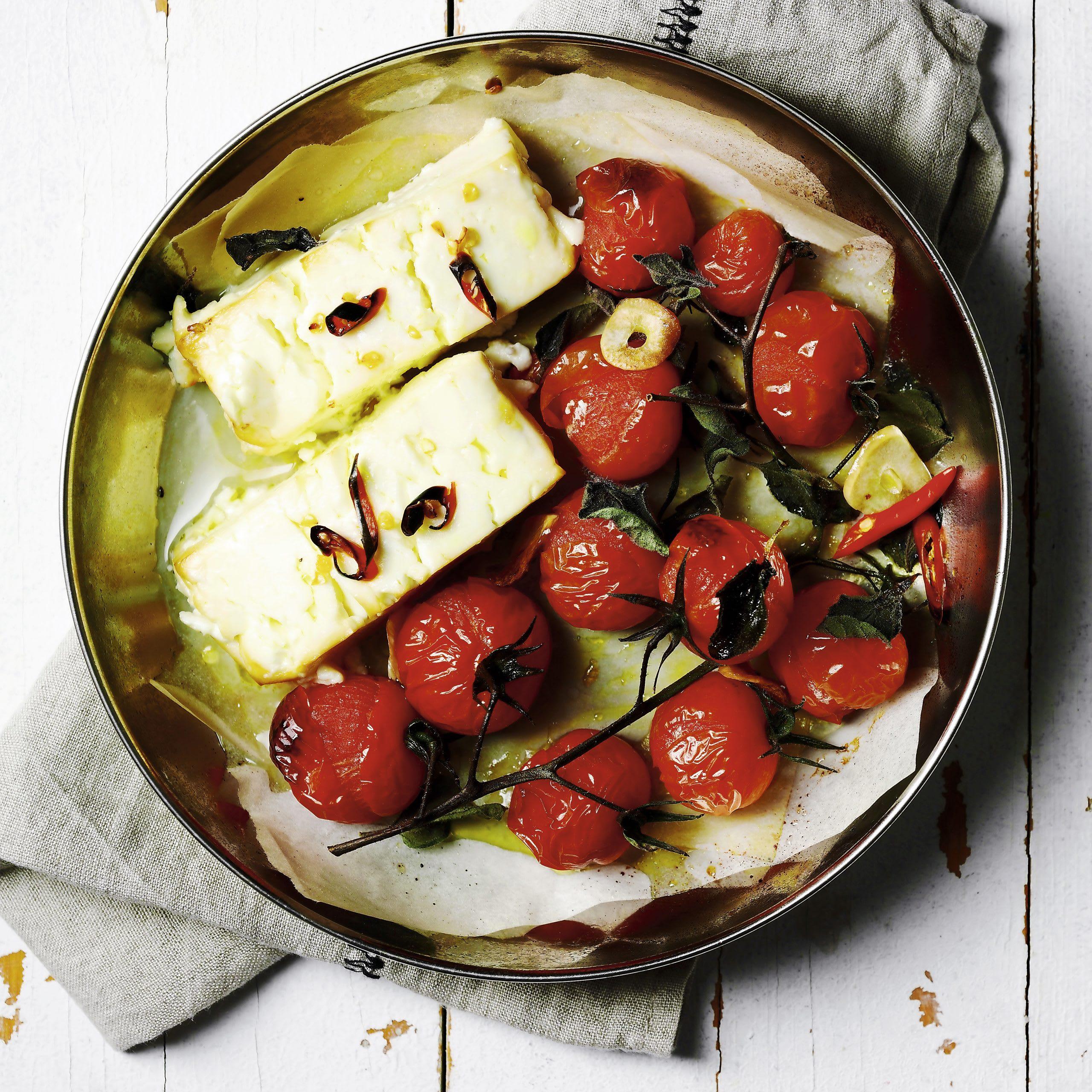 Frischkäse mit Tomaten aus dem Ofen