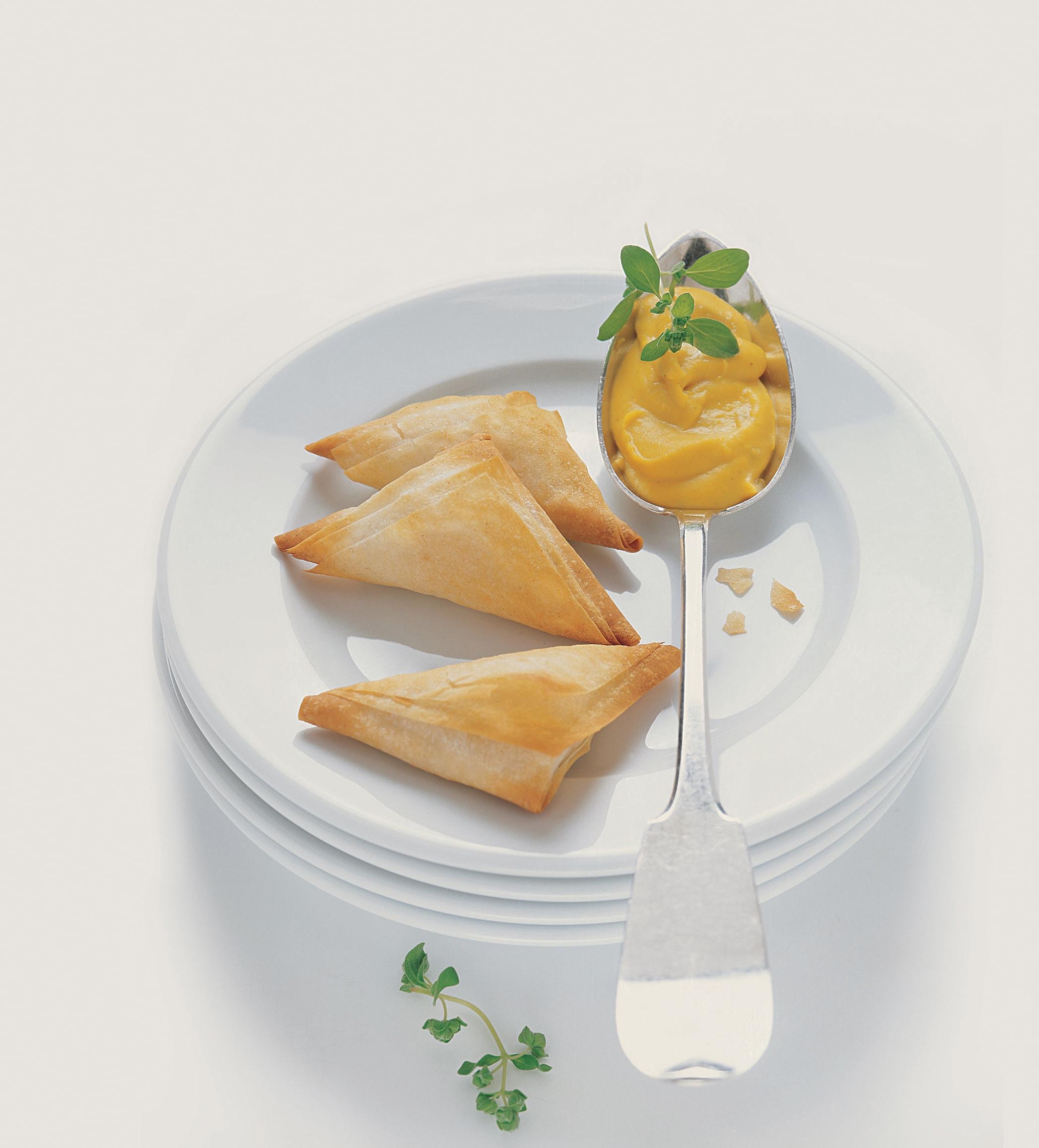 Feuilletés au fromage sauce à la courge