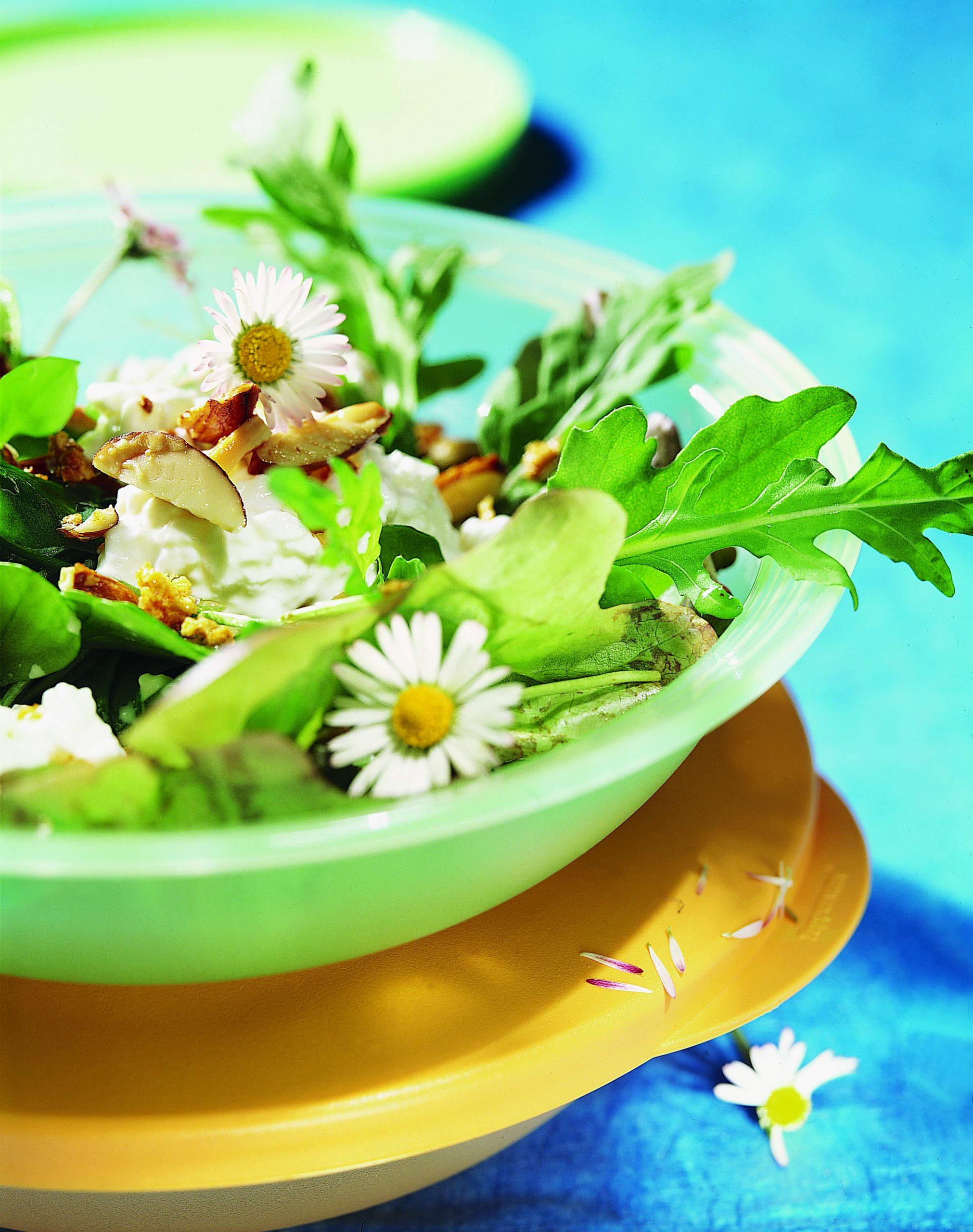 Frühlingssalat mit Mandel-Hüttenkäse