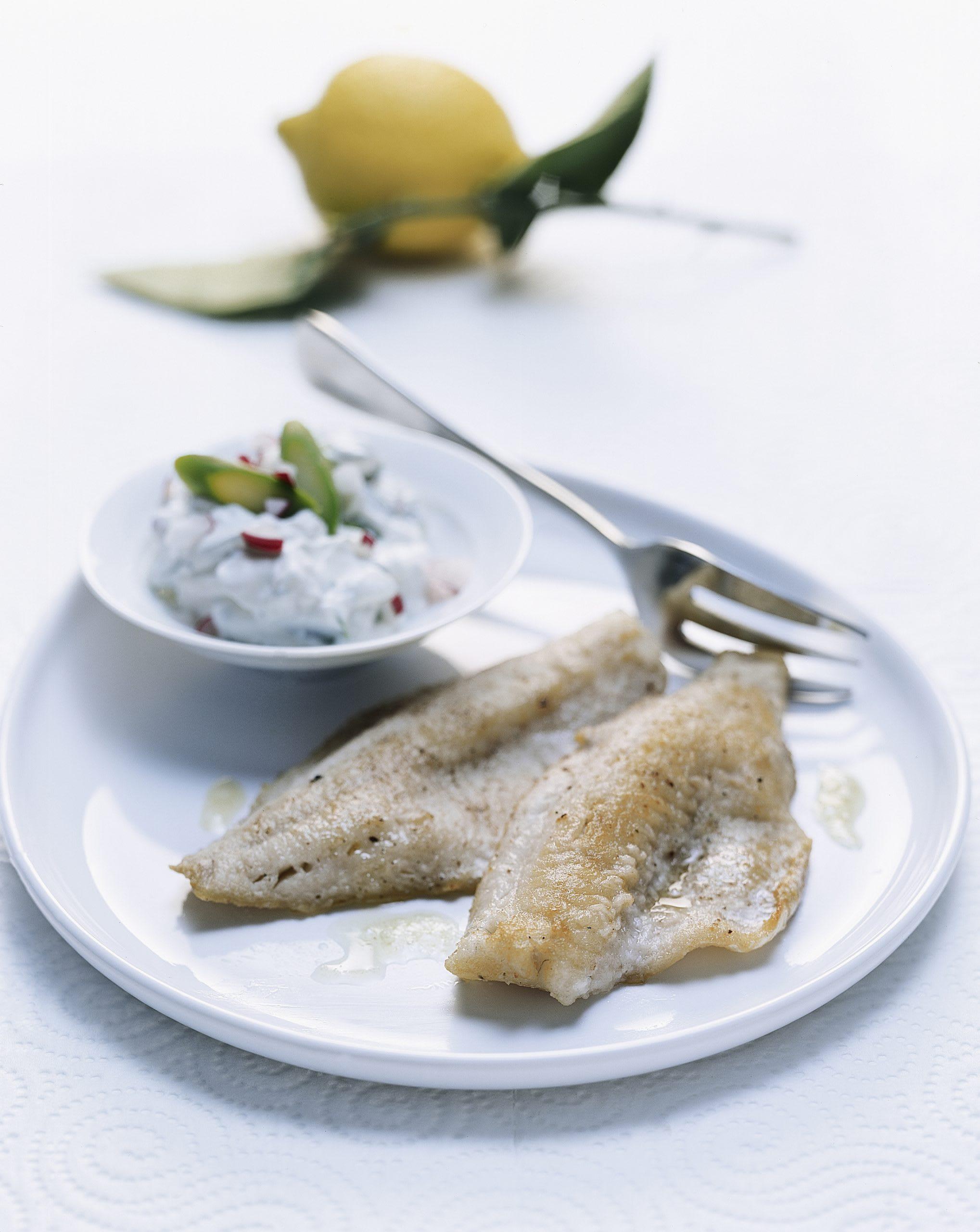 Filets de poisson au séré aux asperges