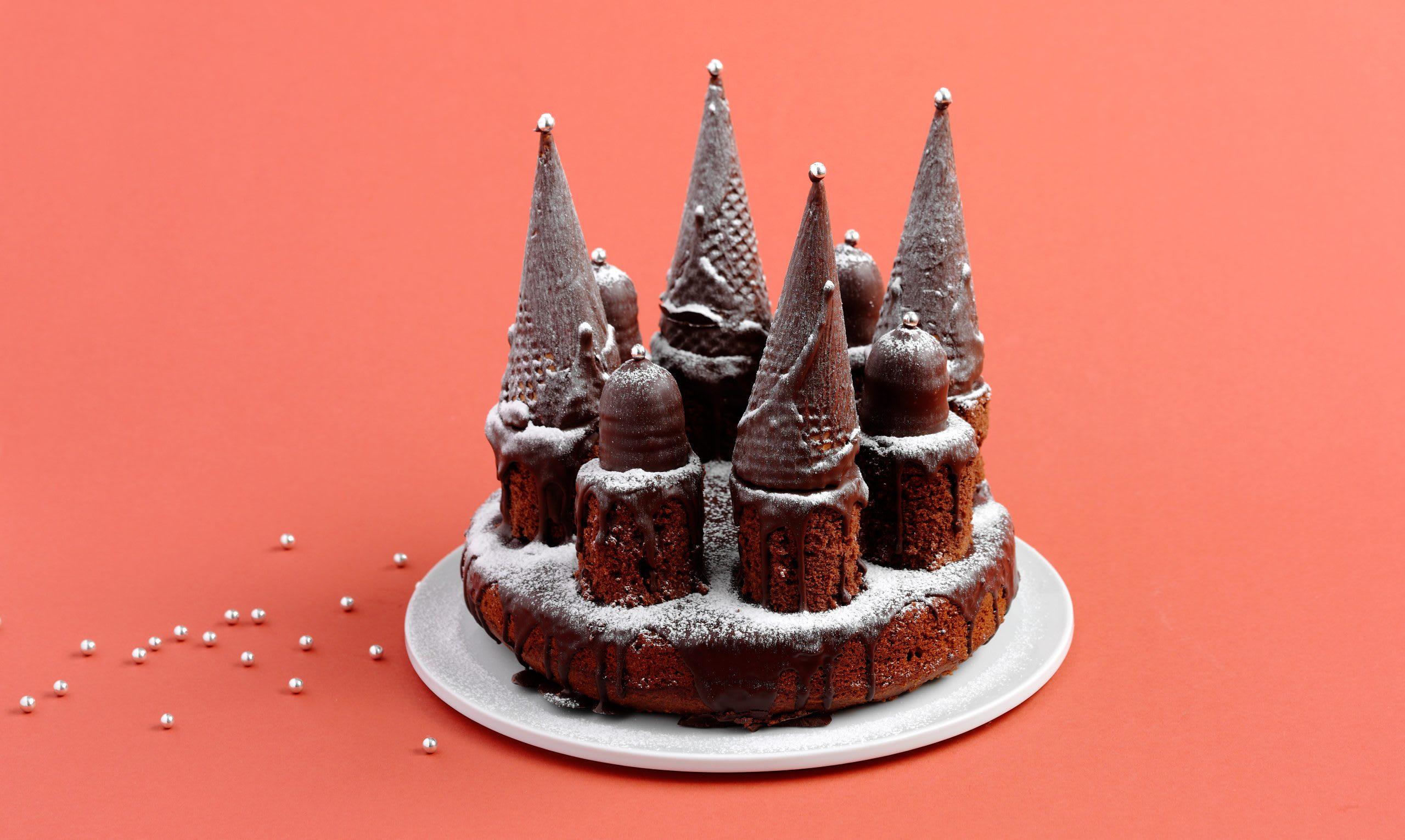 Gâteau d'anniversaire au chocolat château