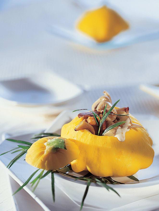 Gefüllte Patissons mit Pilz-Ragoût