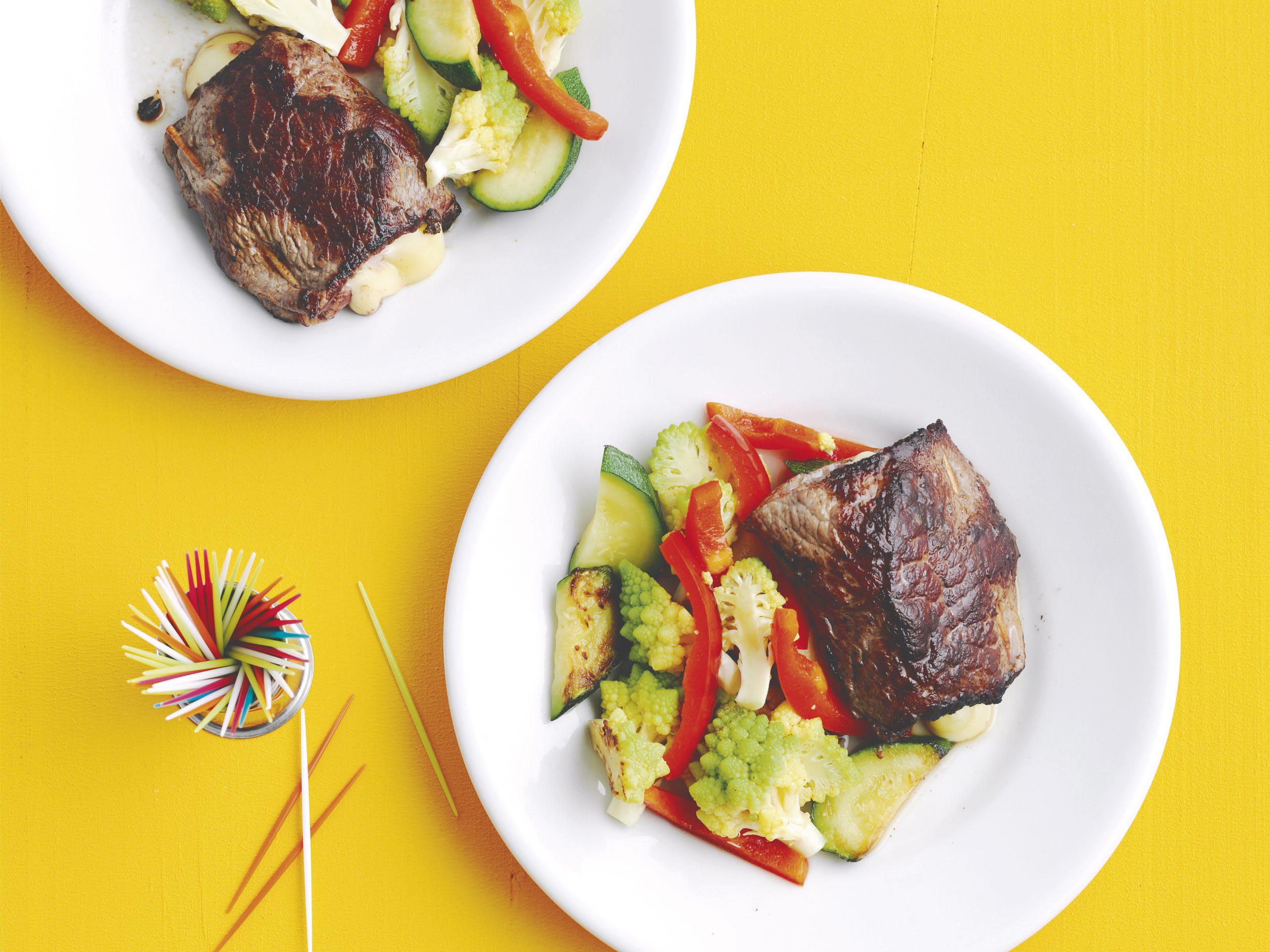 Gefüllte Schnitzel mit Gemüse